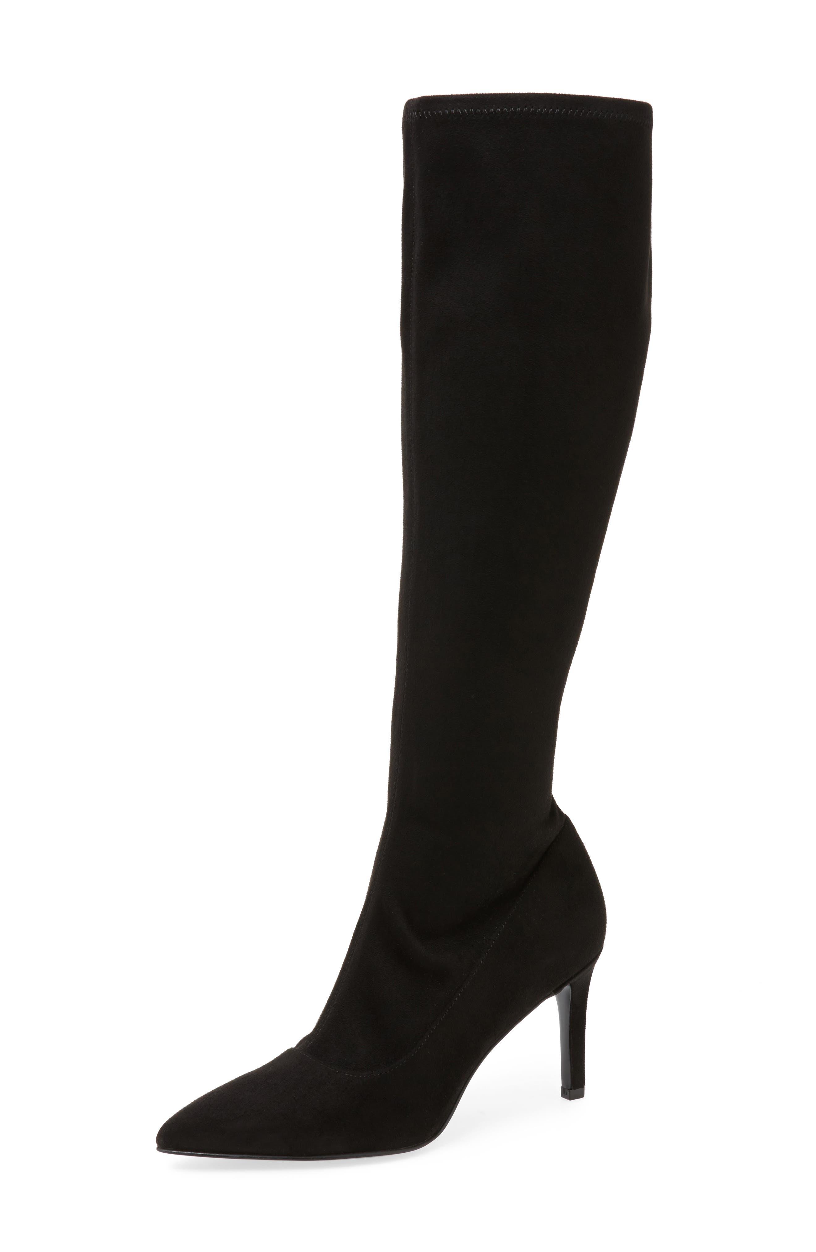 Carrara Knee High Pointy Toe Boot,                         Main,                         color, Black Fabric