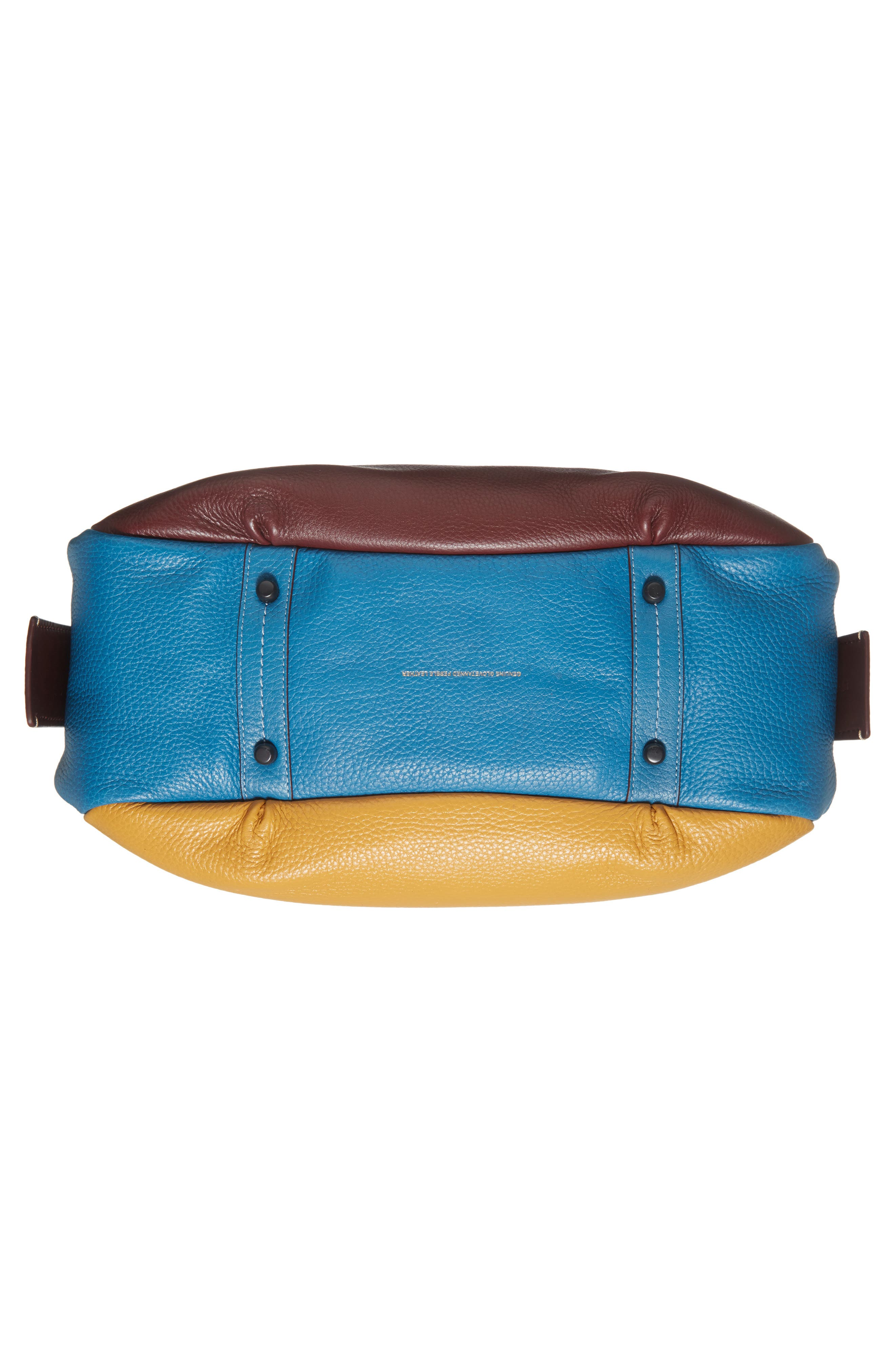 Colorblock Bandit Leather Hobo Bag,                             Alternate thumbnail 5, color,                             Goldenrod Multi