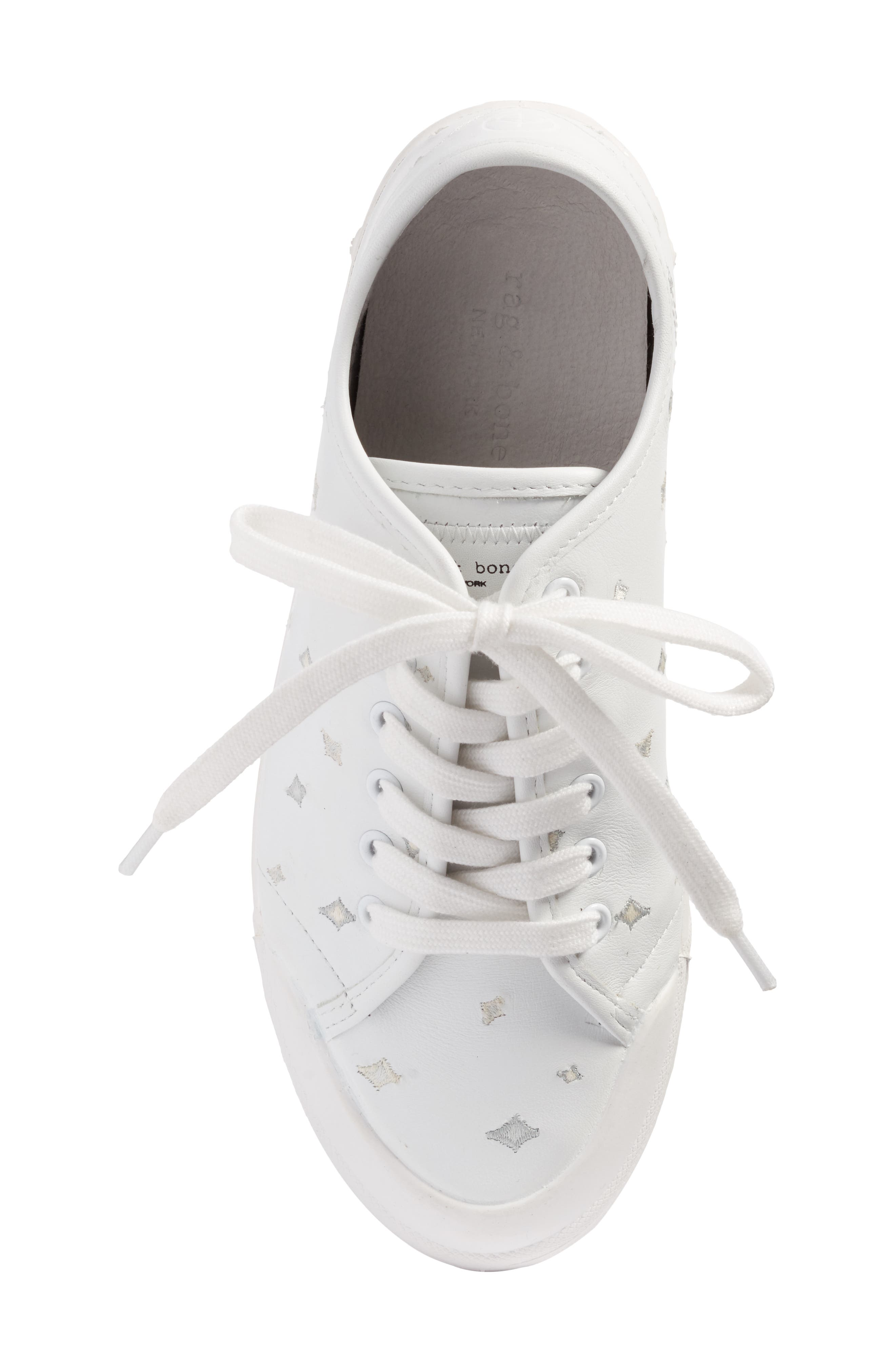 Embroidered Standard Issue Sneaker,                             Alternate thumbnail 5, color,                             White Leather Embroidery