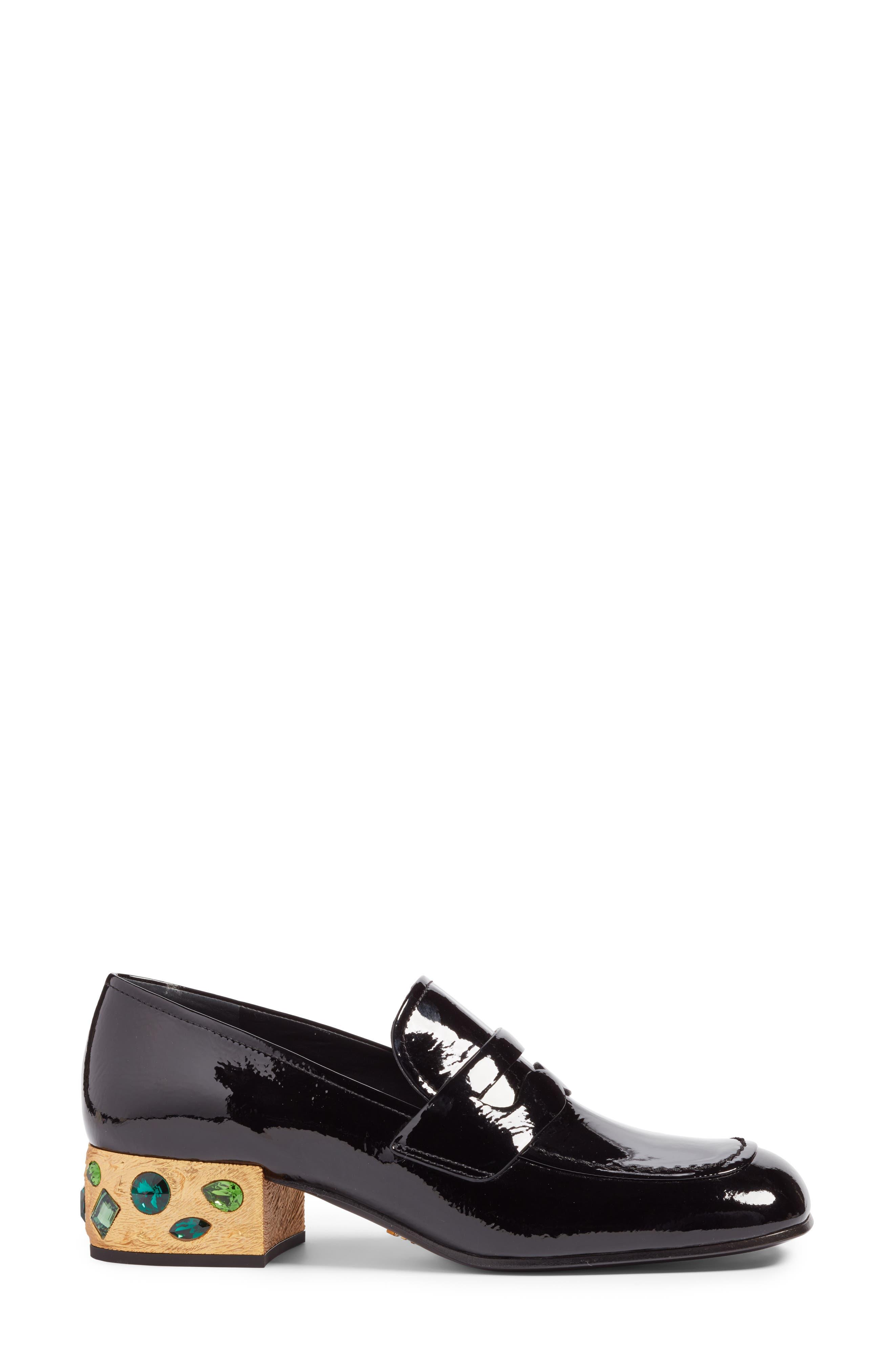 Embellished Loafer,                             Alternate thumbnail 3, color,                             Black