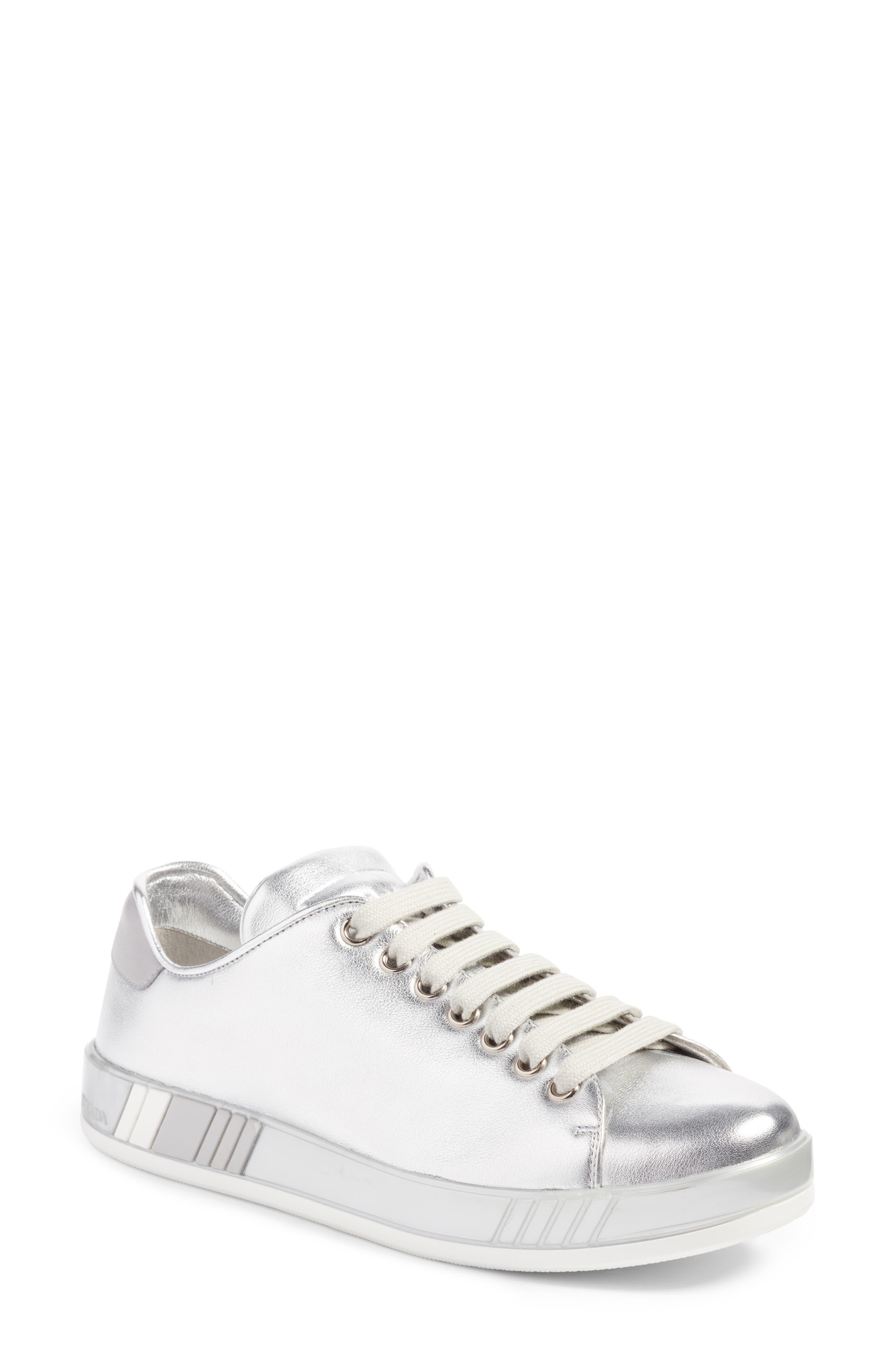 Low Top Sneaker,                             Main thumbnail 1, color,                             Metallic Silver