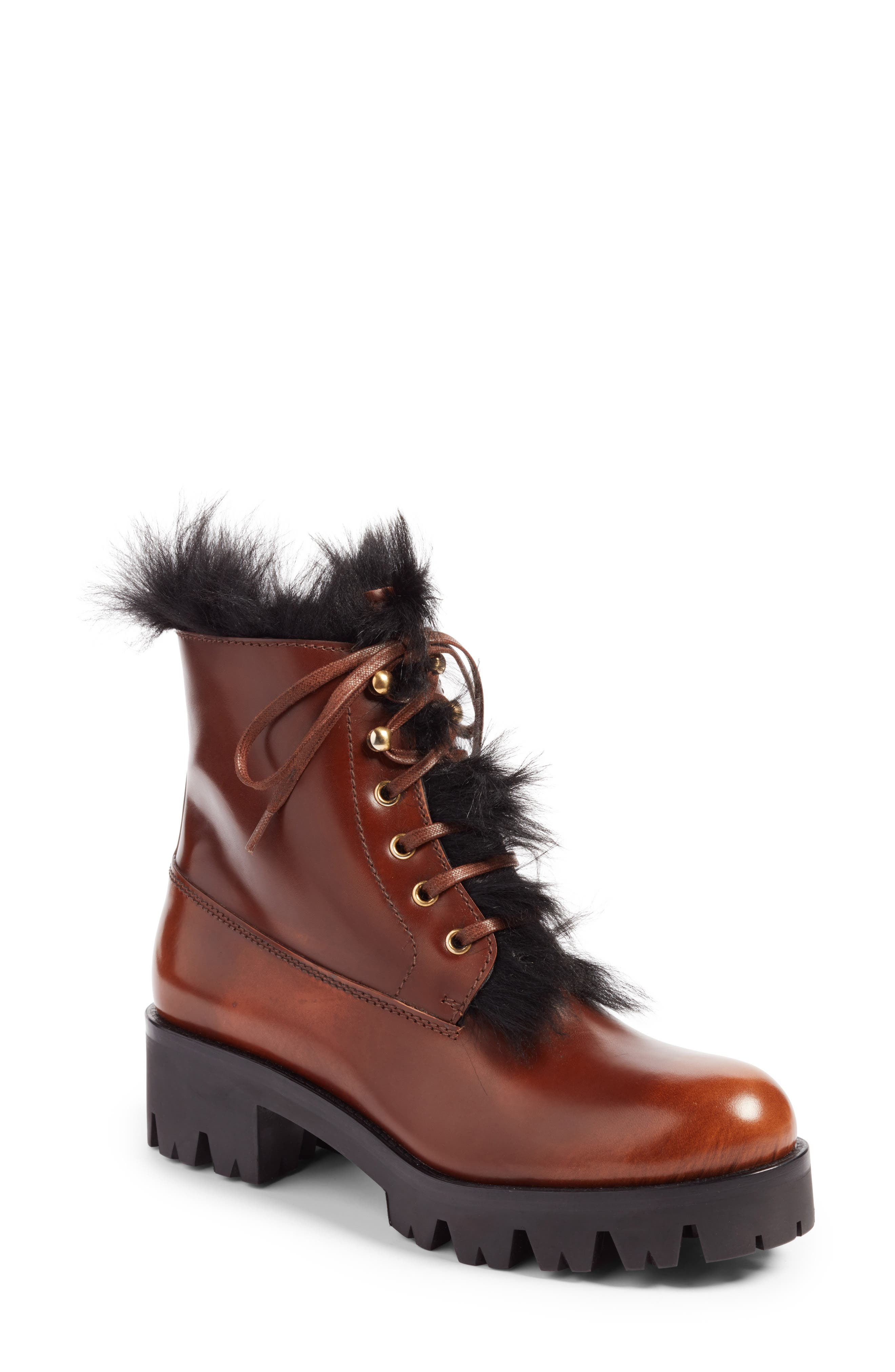 Calfskin Boot with Genuine Shearling Trim,                             Main thumbnail 1, color,                             Brown