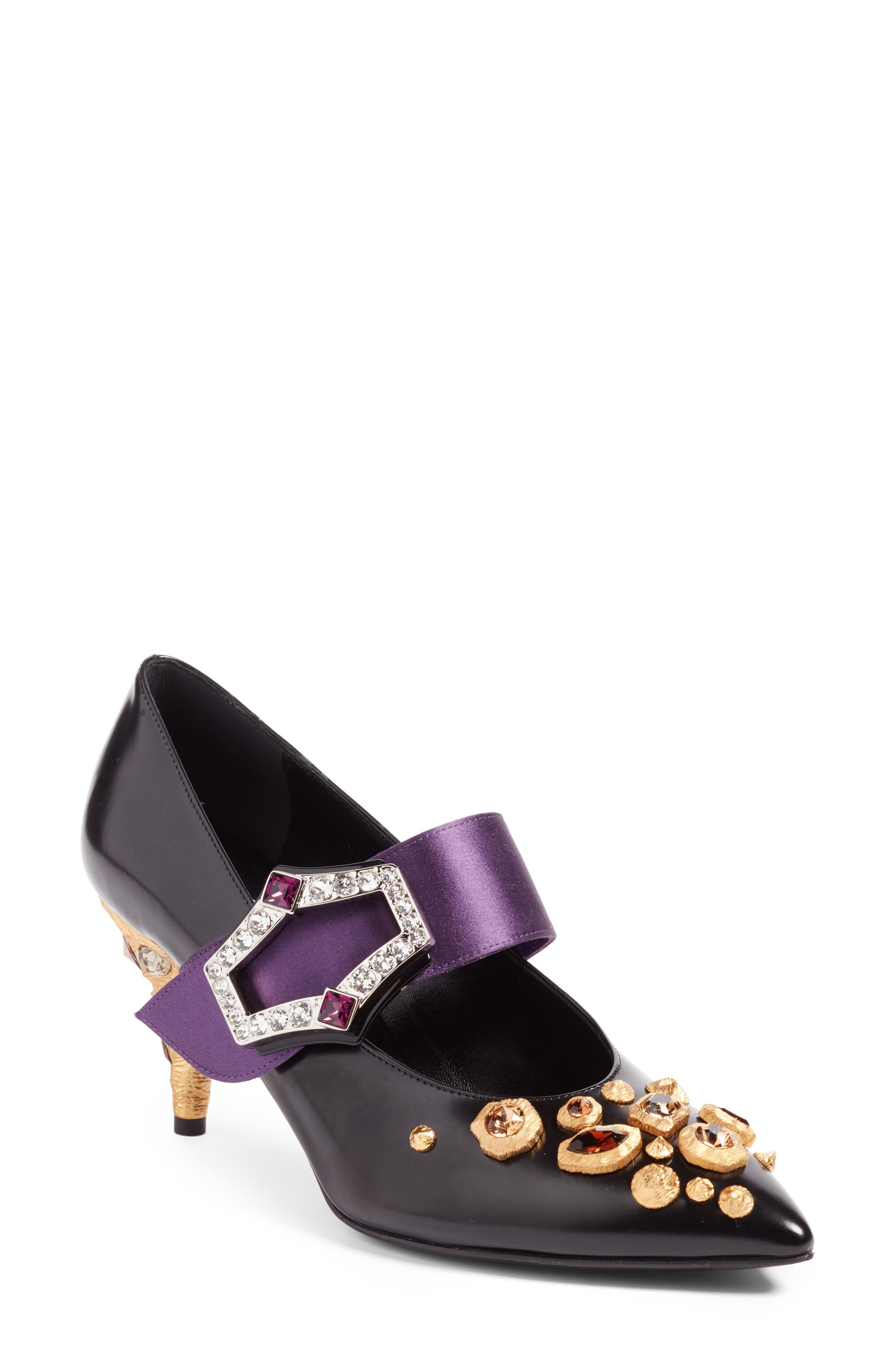 Jeweled Mary Jane Pump,                             Main thumbnail 1, color,                             Black/ Purple