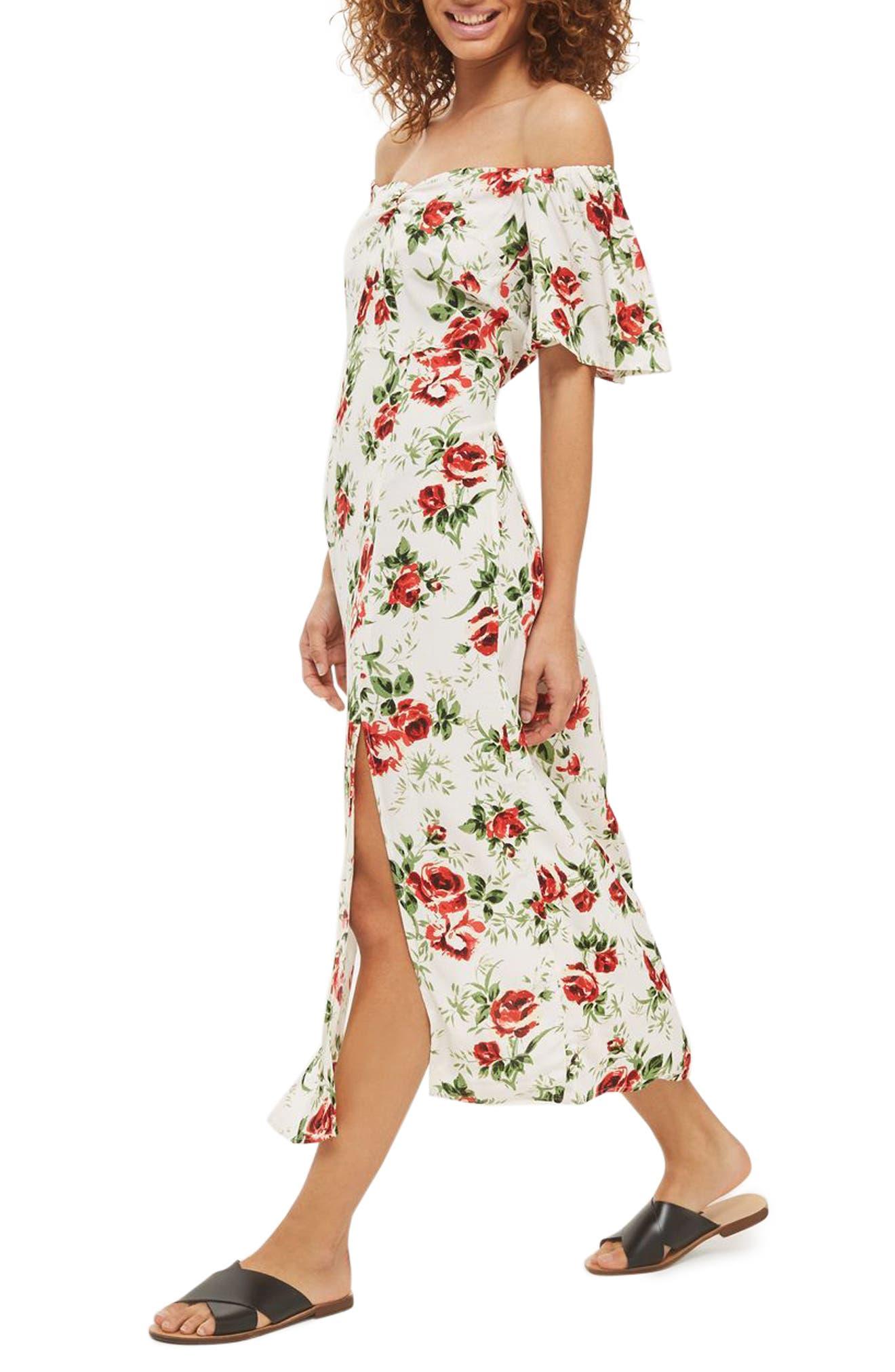 Bardot Rose Print Midi Dress,                         Main,                         color, Ivory Multi