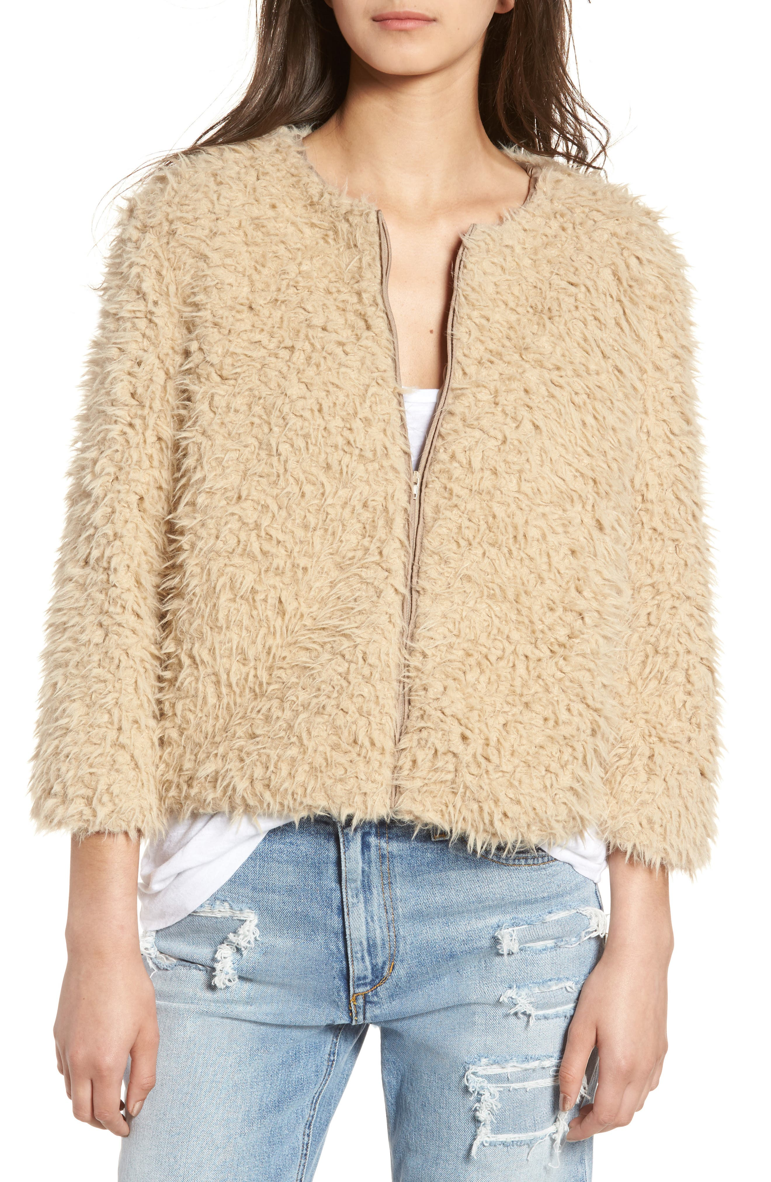 Macy Faux Fur Jacket,                             Alternate thumbnail 4, color,                             Light Camel