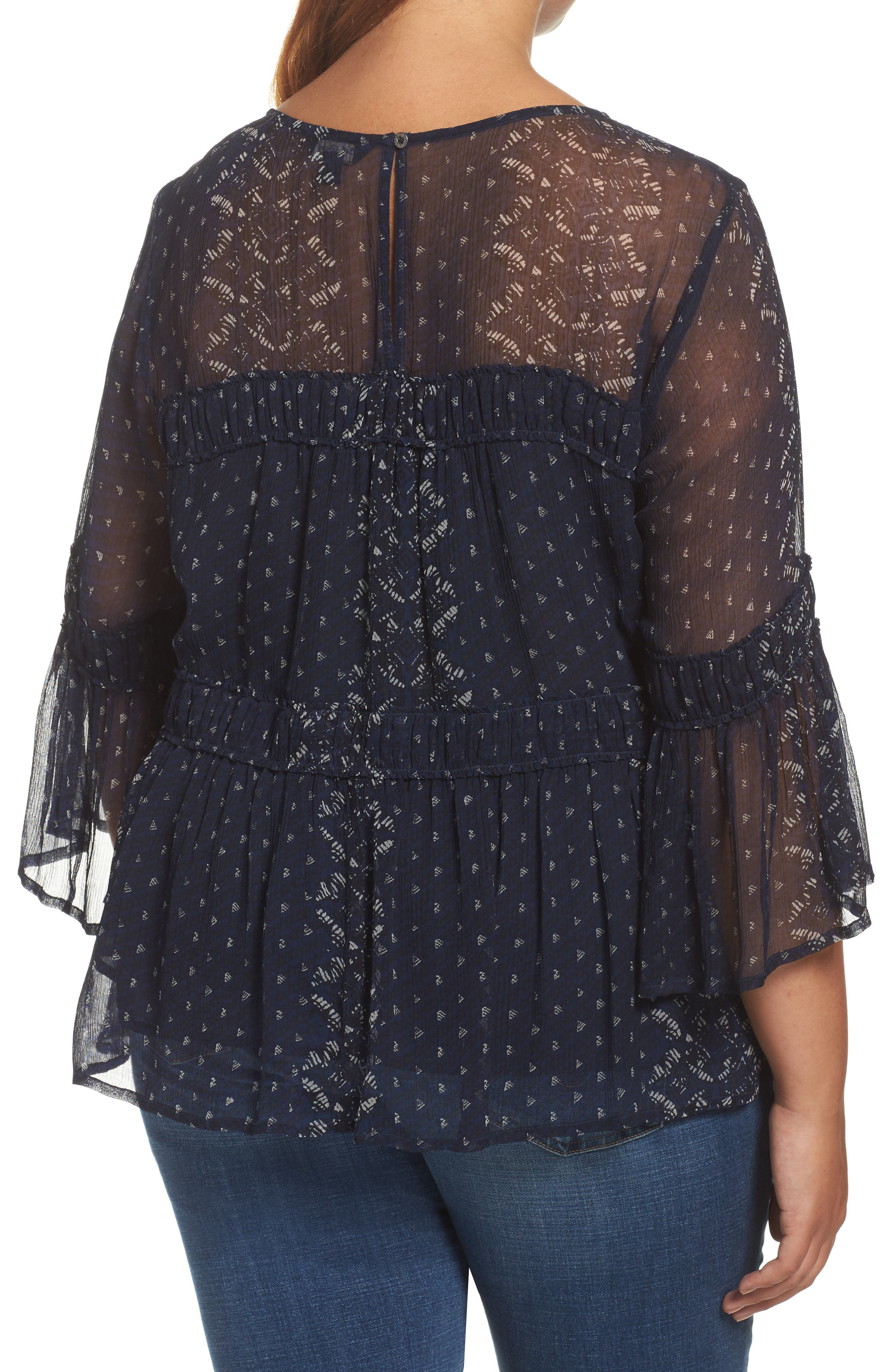 Alternate Image 2  - Lucky Brand Shirred Peasant Top (Plus Size)