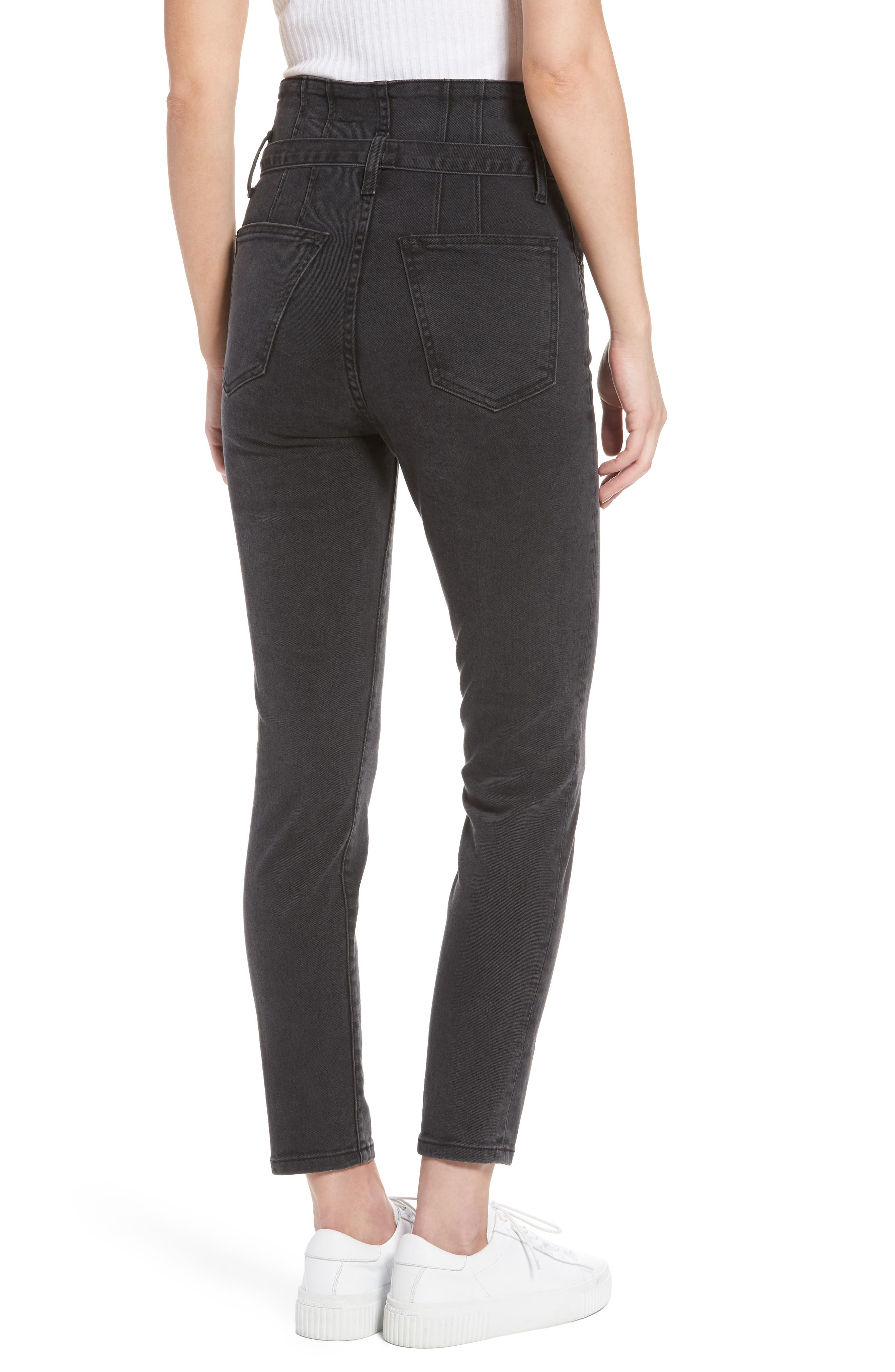 Alternate Image 2  - Current/Elliott Corset Stiletto Ankle Skinny Jeans (Indiana)