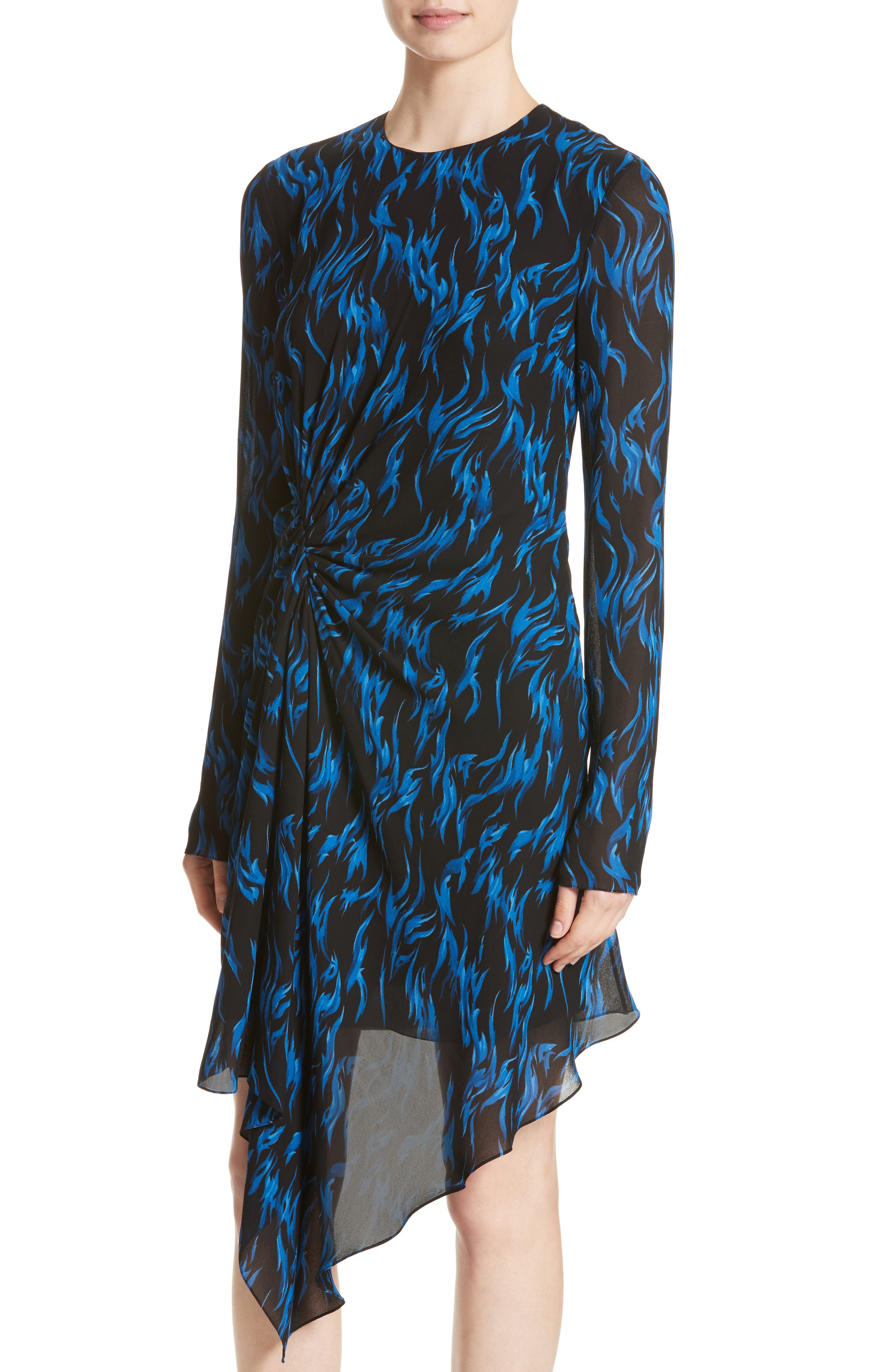Alternate Image 6  - Saint Laurent Flame Print Crepe Asymmetrical Dress