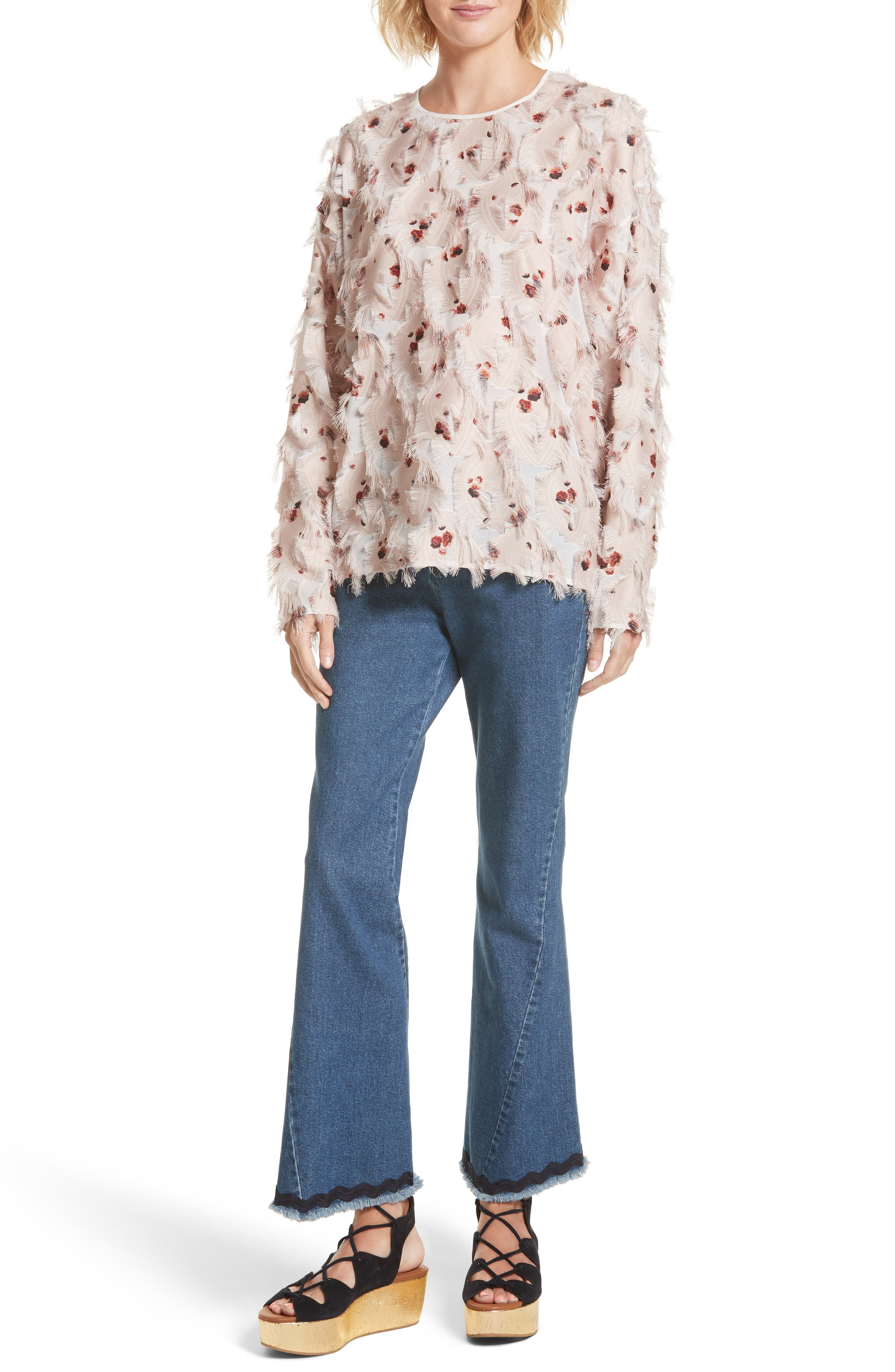 Alternate Image 2  - See by Chloé Feather Jacquard Blouse