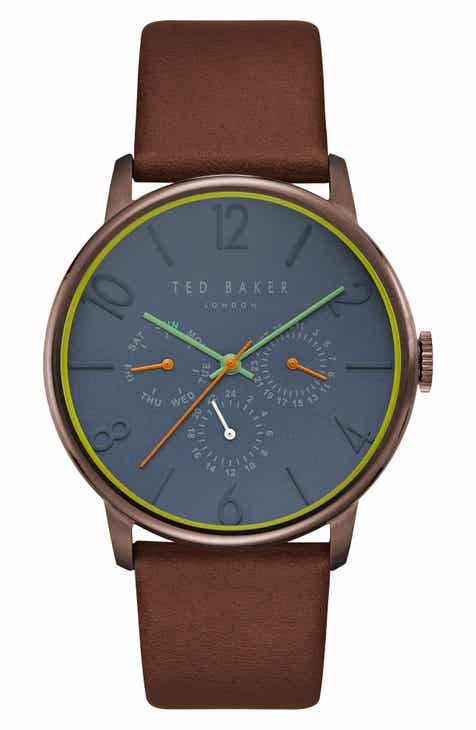 8e03f658dce Ted Baker London James Multifunction Leather Strap Watch