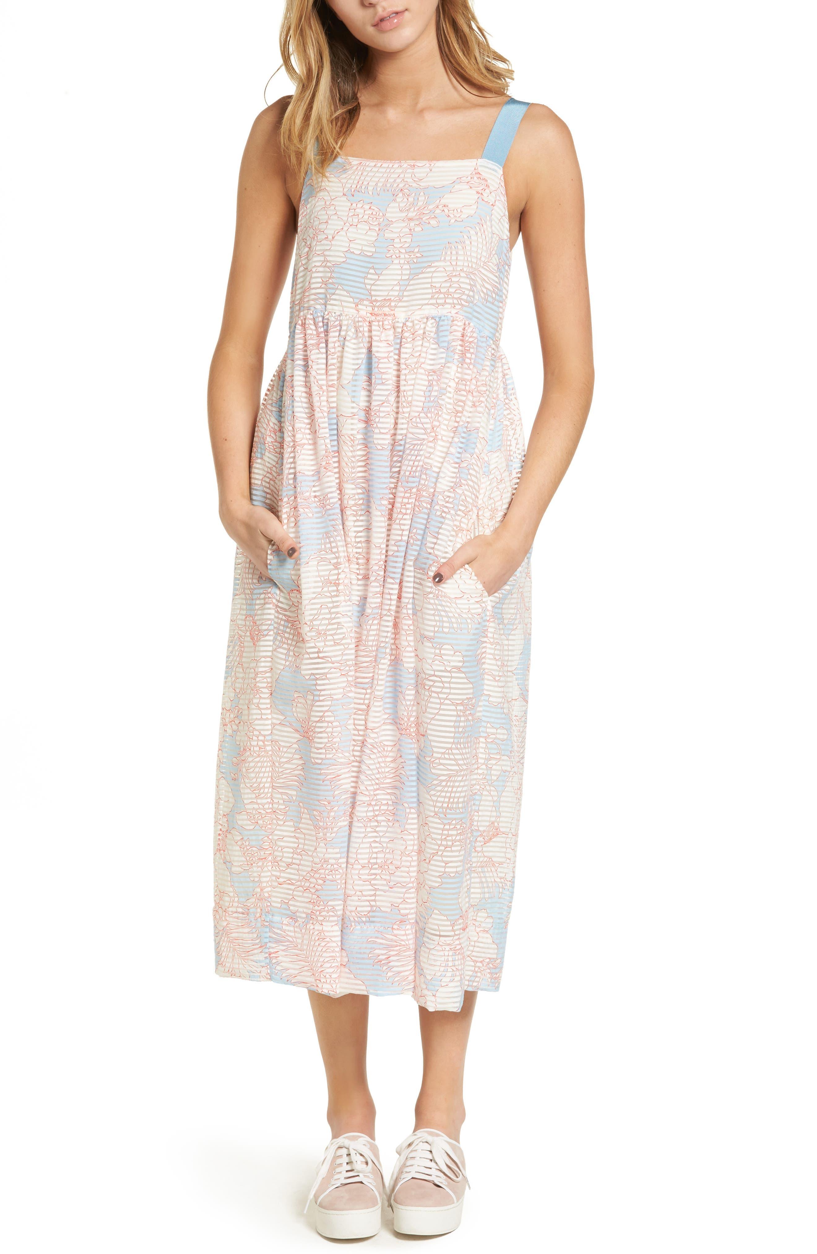 Bahamas Print Midi Dress,                         Main,                         color, Bleu