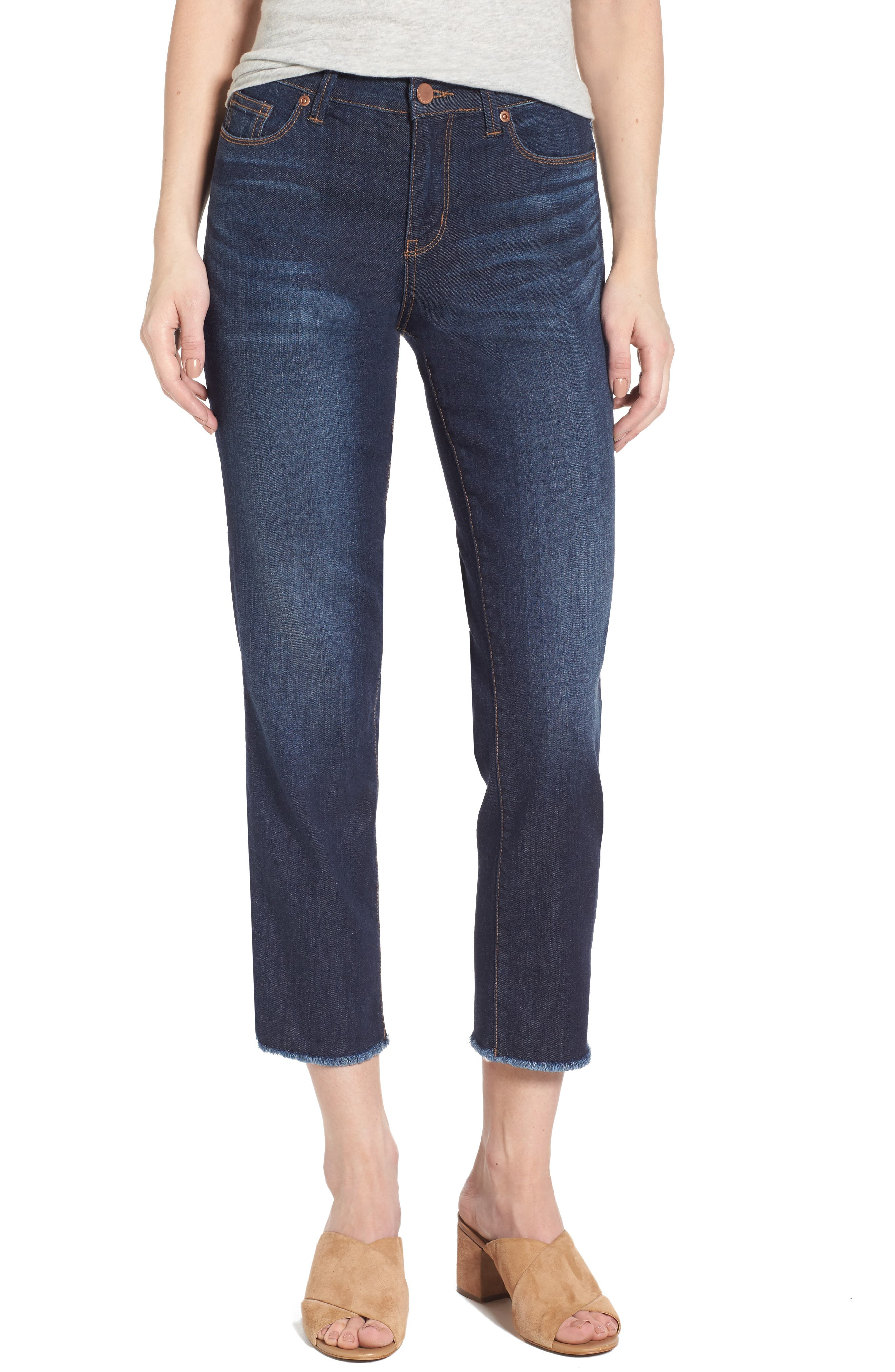 Halogen® Frayed Hem Crop Jeans (Navy Twilight) (Regular & Petite)