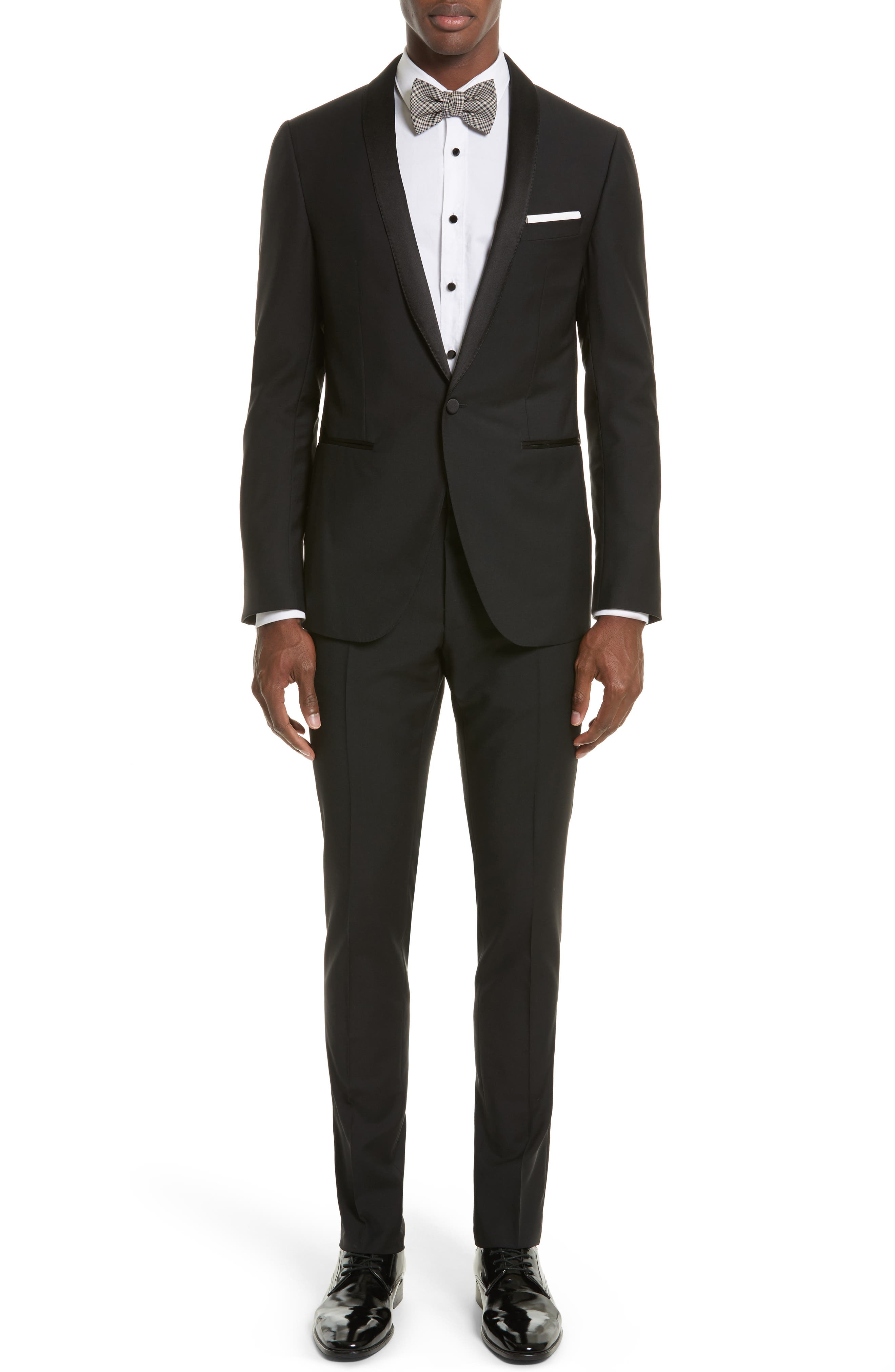 Shawl Lapel Wool Blend Tuxedo,                         Main,                         color, Black