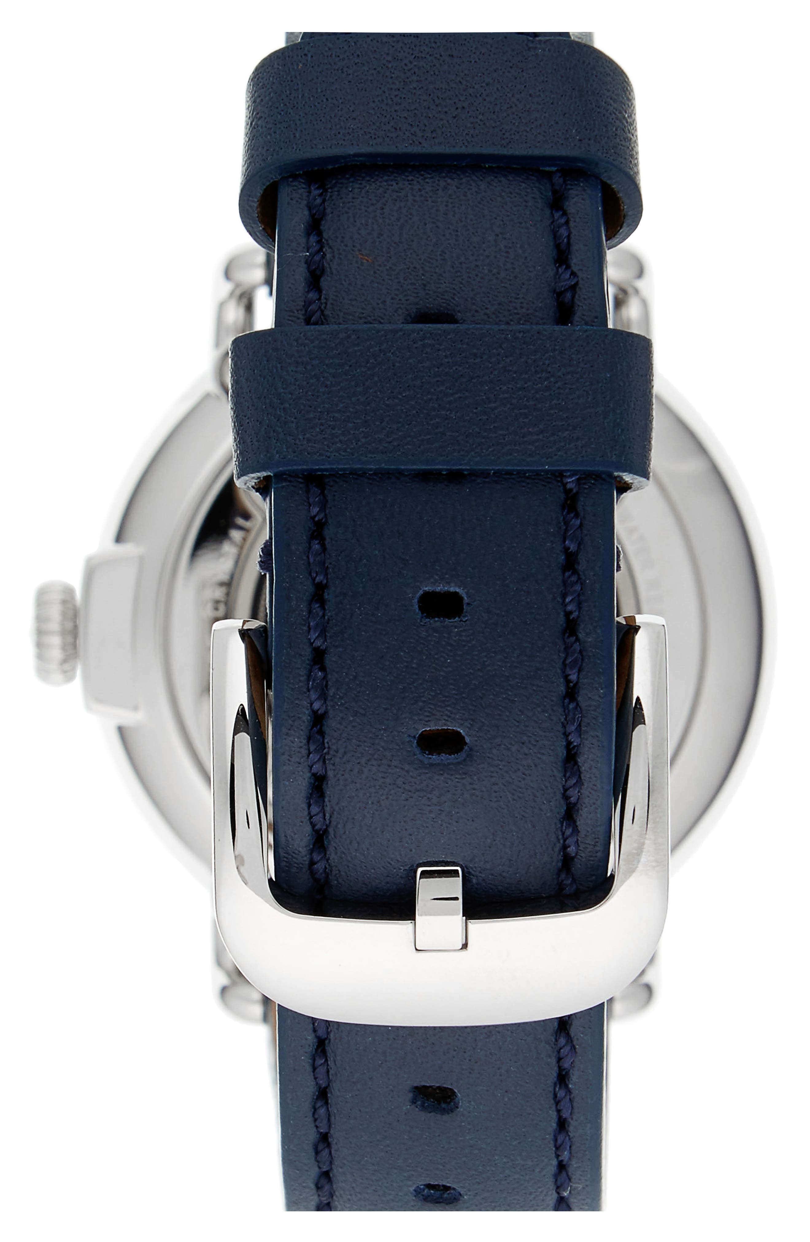 'The Runwell' Leather Strap Watch, 41mm,                             Alternate thumbnail 2, color,                             Midnight Blue/ Silver