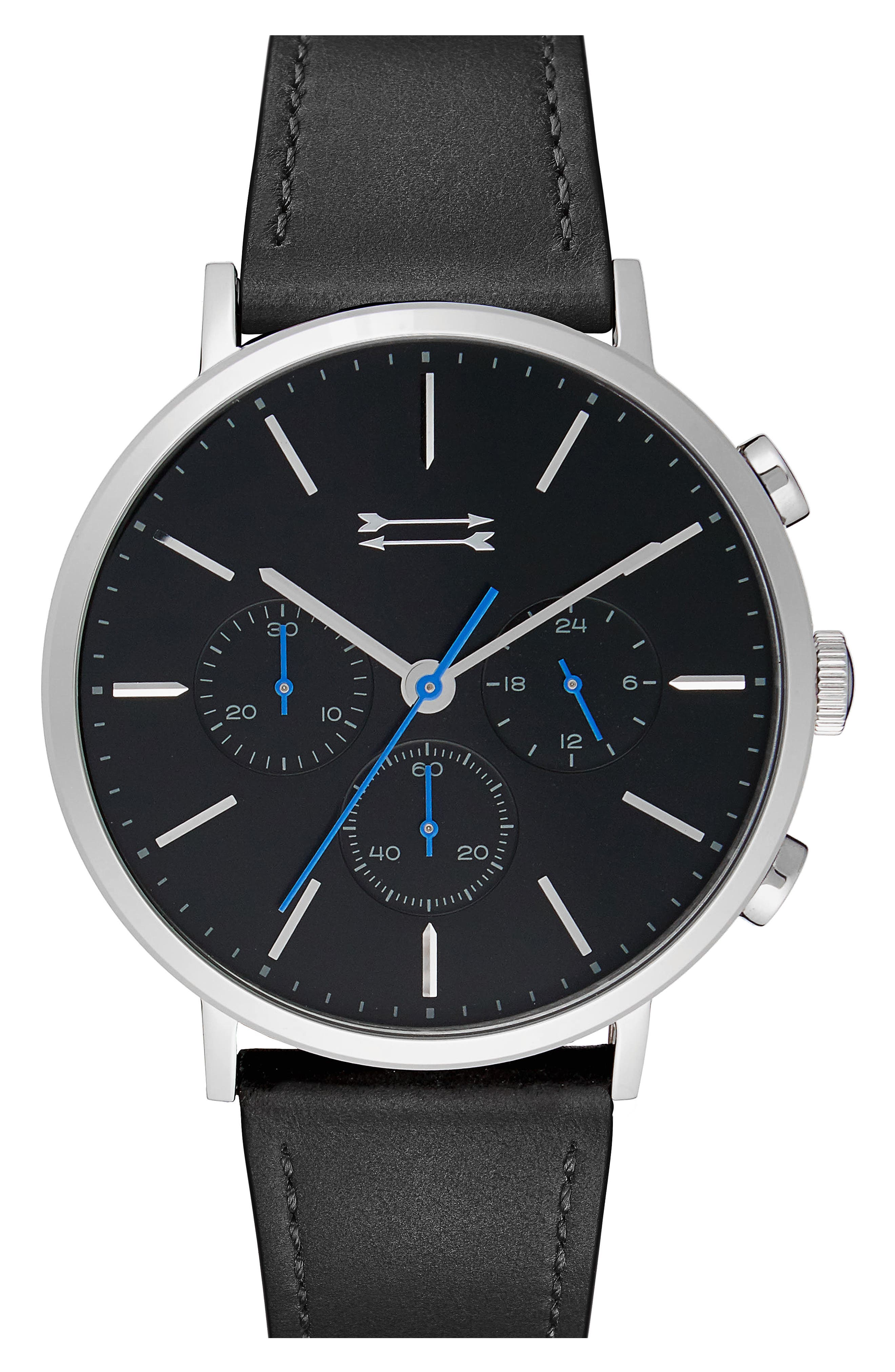 Griffith Leather Strap Watch, 43mm,                         Main,                         color, Black/ Silver