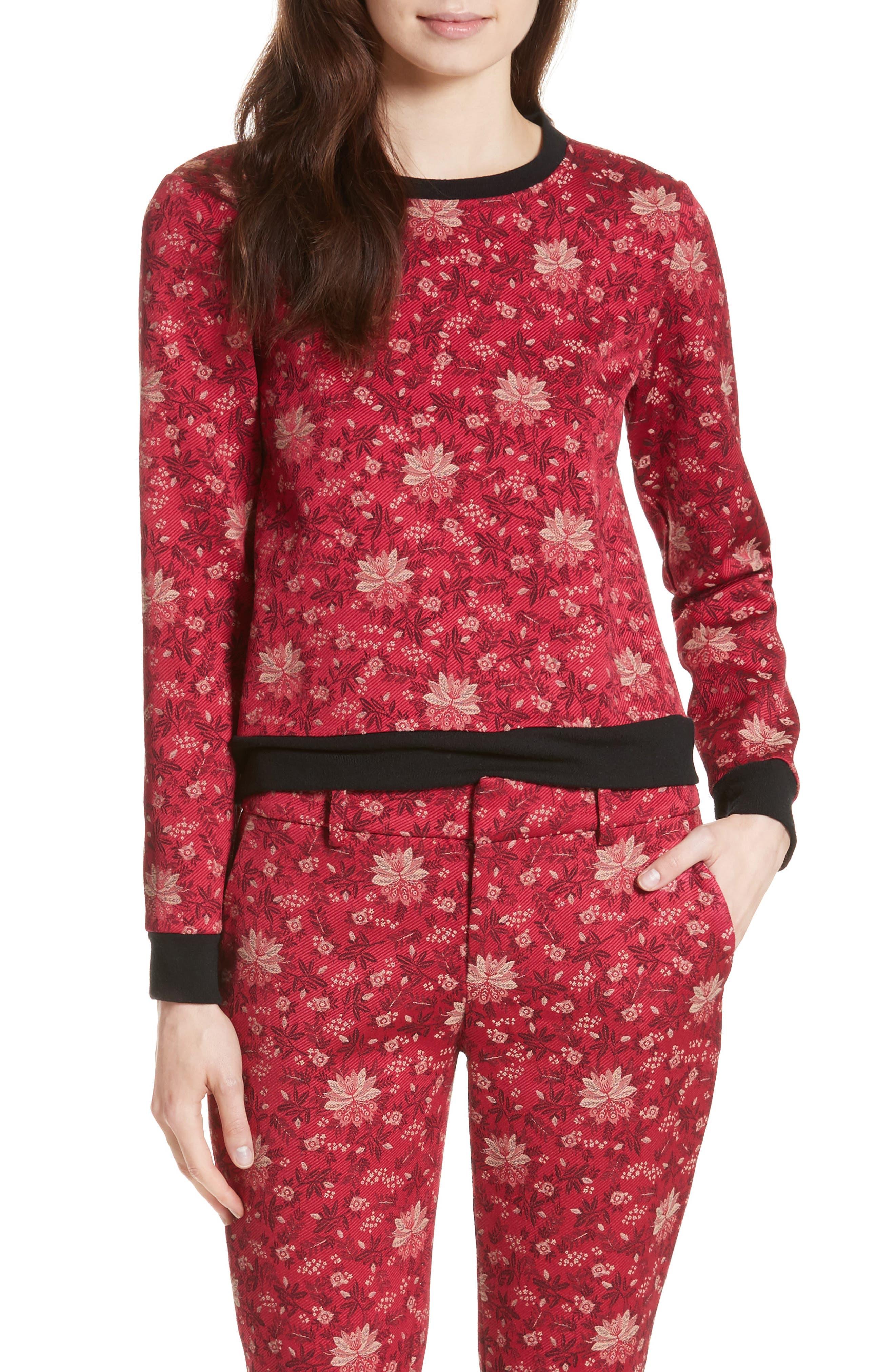 Marylou Floral Jacquard Sweatshirt,                         Main,                         color, Fuchsia