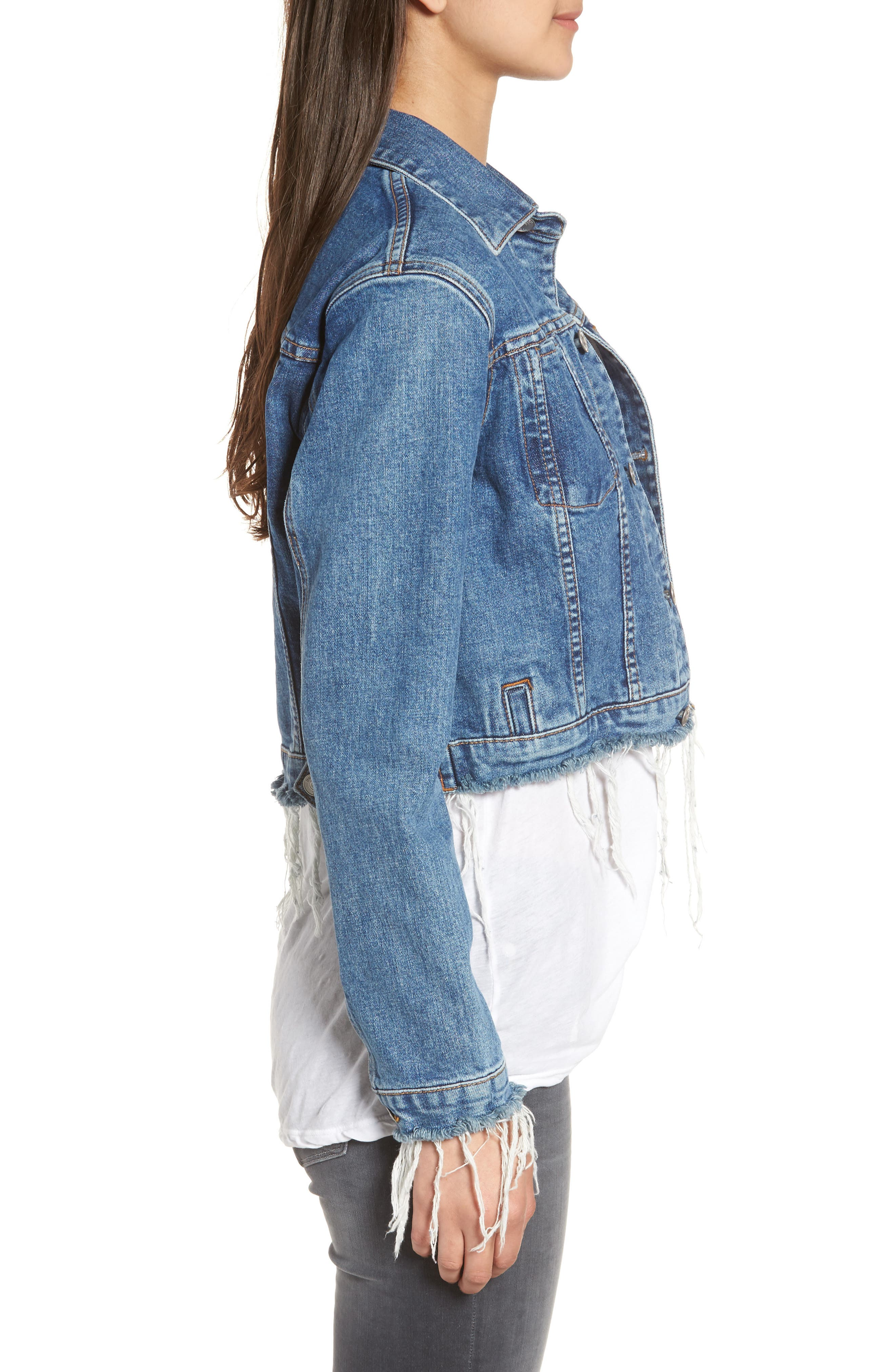 Garrison Crop Denim Jacket,                             Alternate thumbnail 3, color,                             Continuum