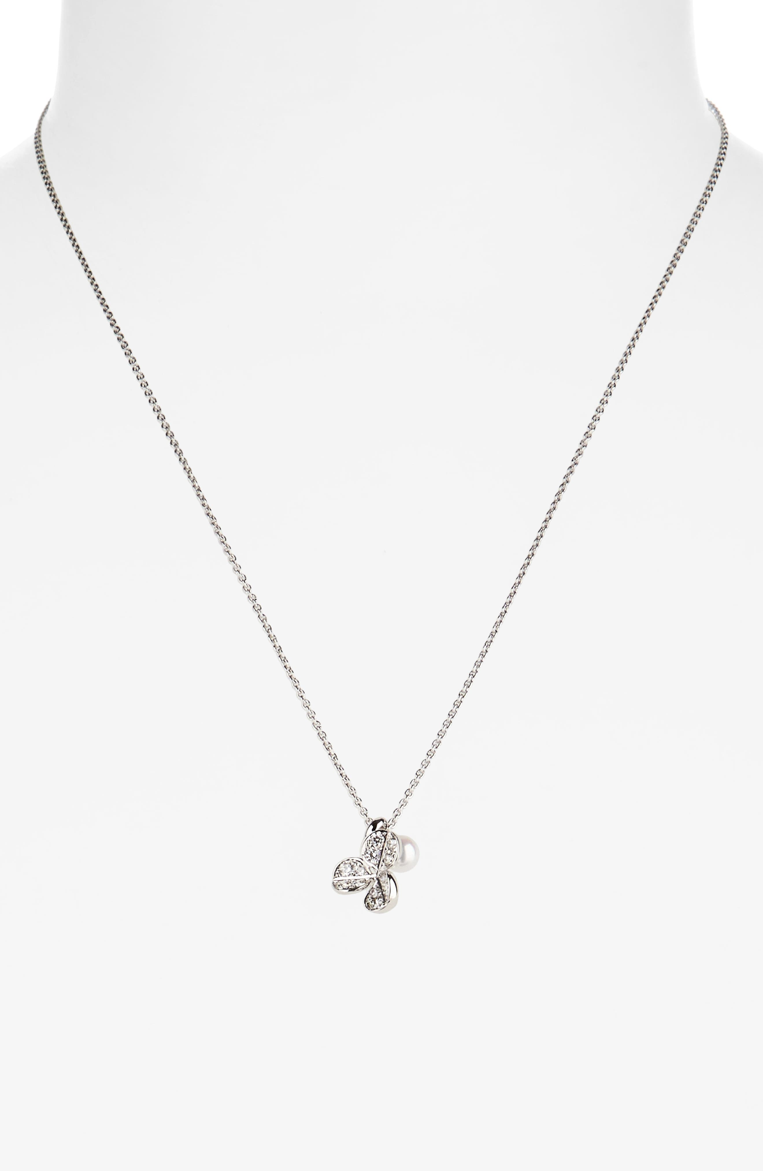 Alternate Image 2  - Mikimoto Fortune Leaves Pearl & Diamond Pendant Necklace