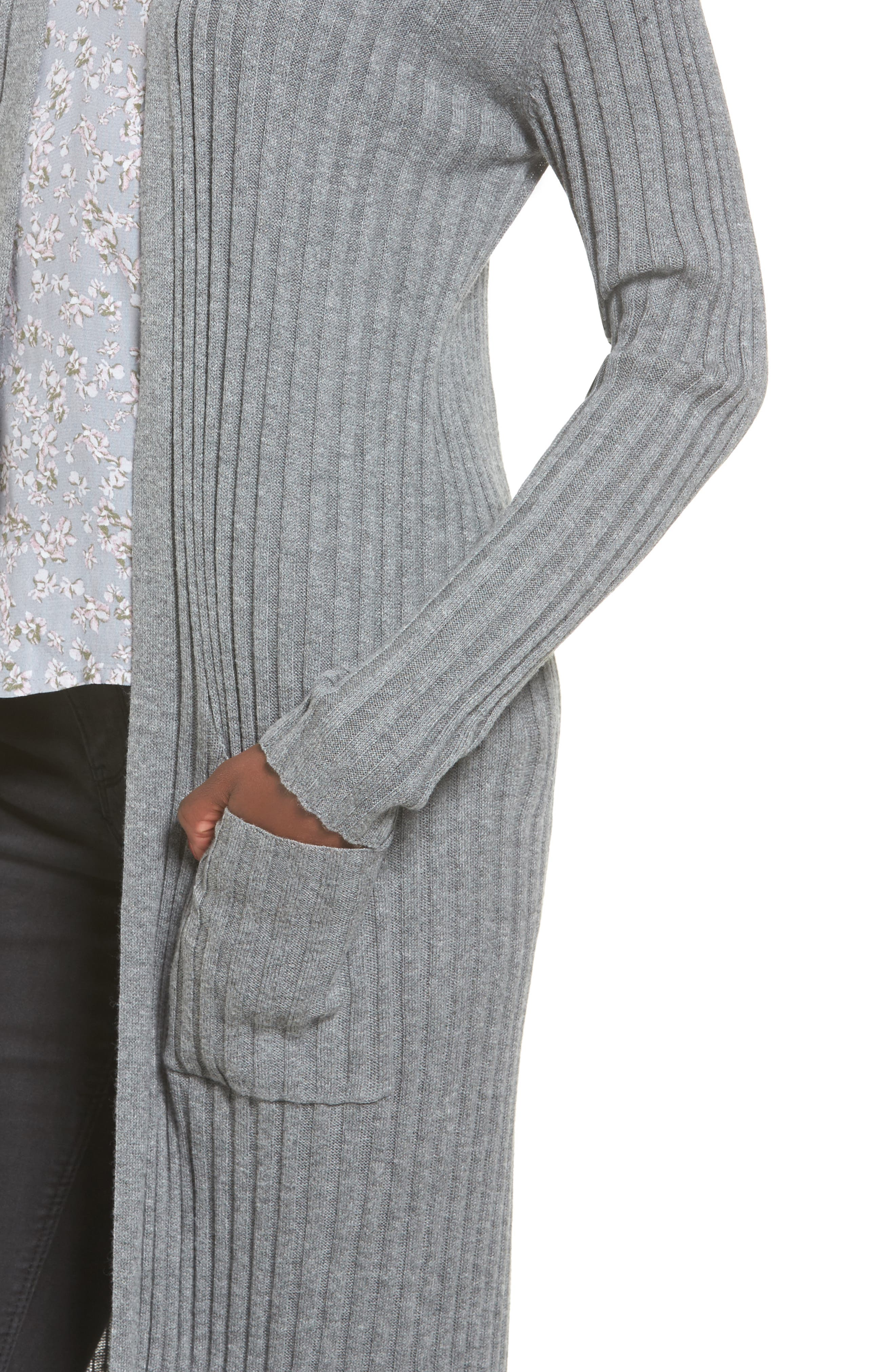 Rib Knit Midi Cardigan,                             Alternate thumbnail 4, color,                             Grey Cloudy Heather