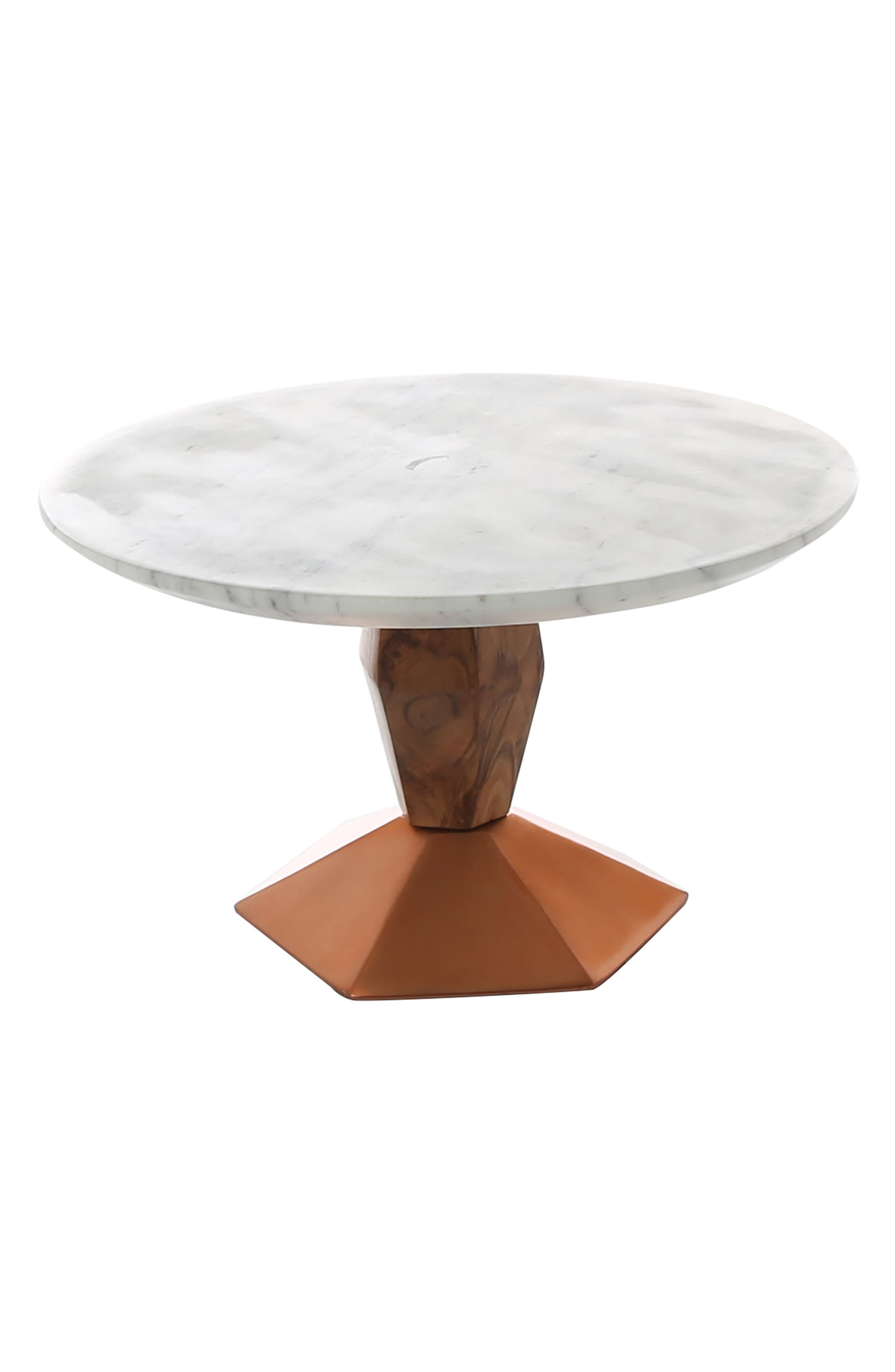 Marble & Wood Cake Stand with Copper Base,                         Main,                         color, Grey/ Copper