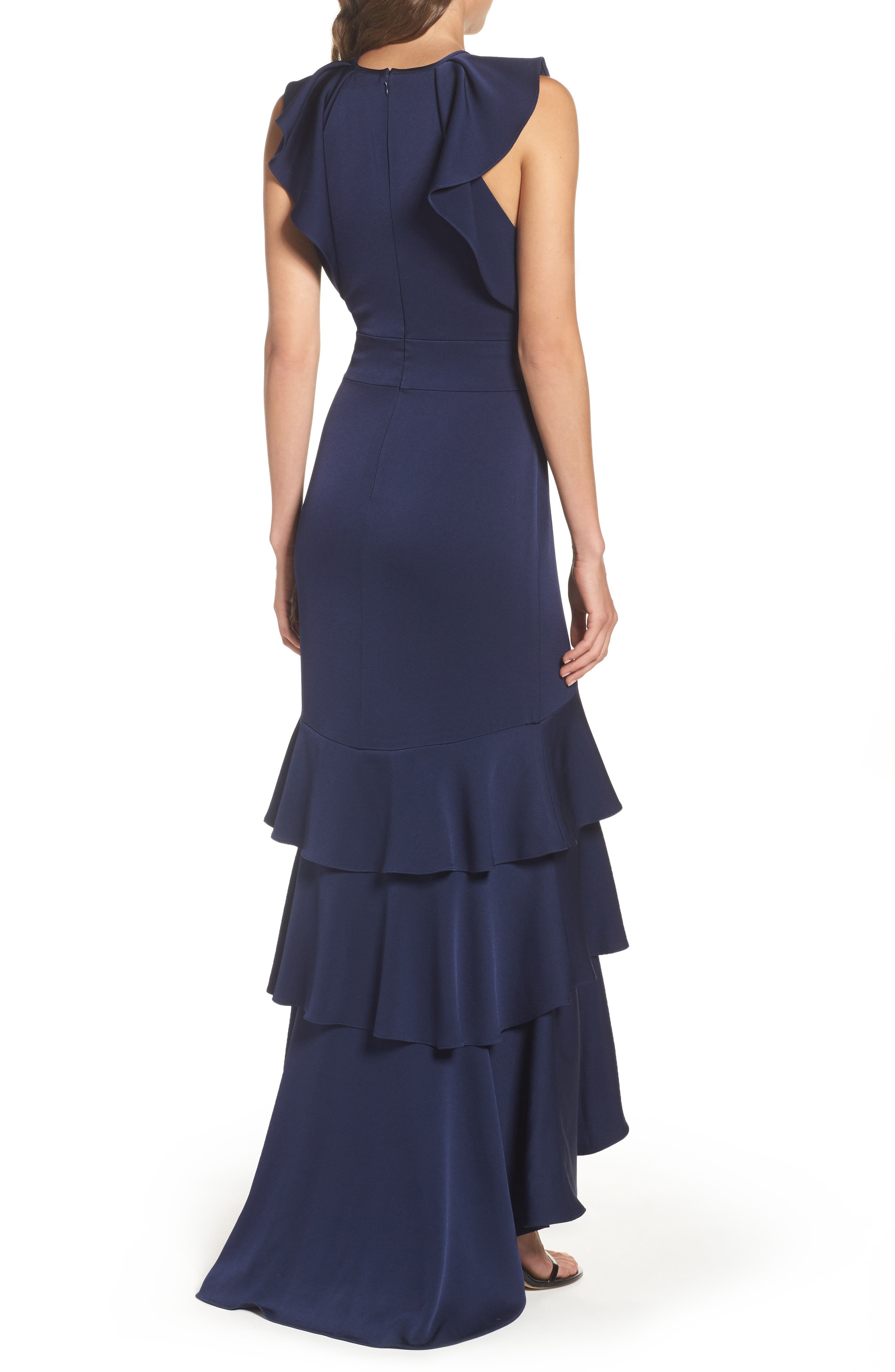 Alternate Image 2  - Shoshanna Daviot Ruffle Tiered Gown