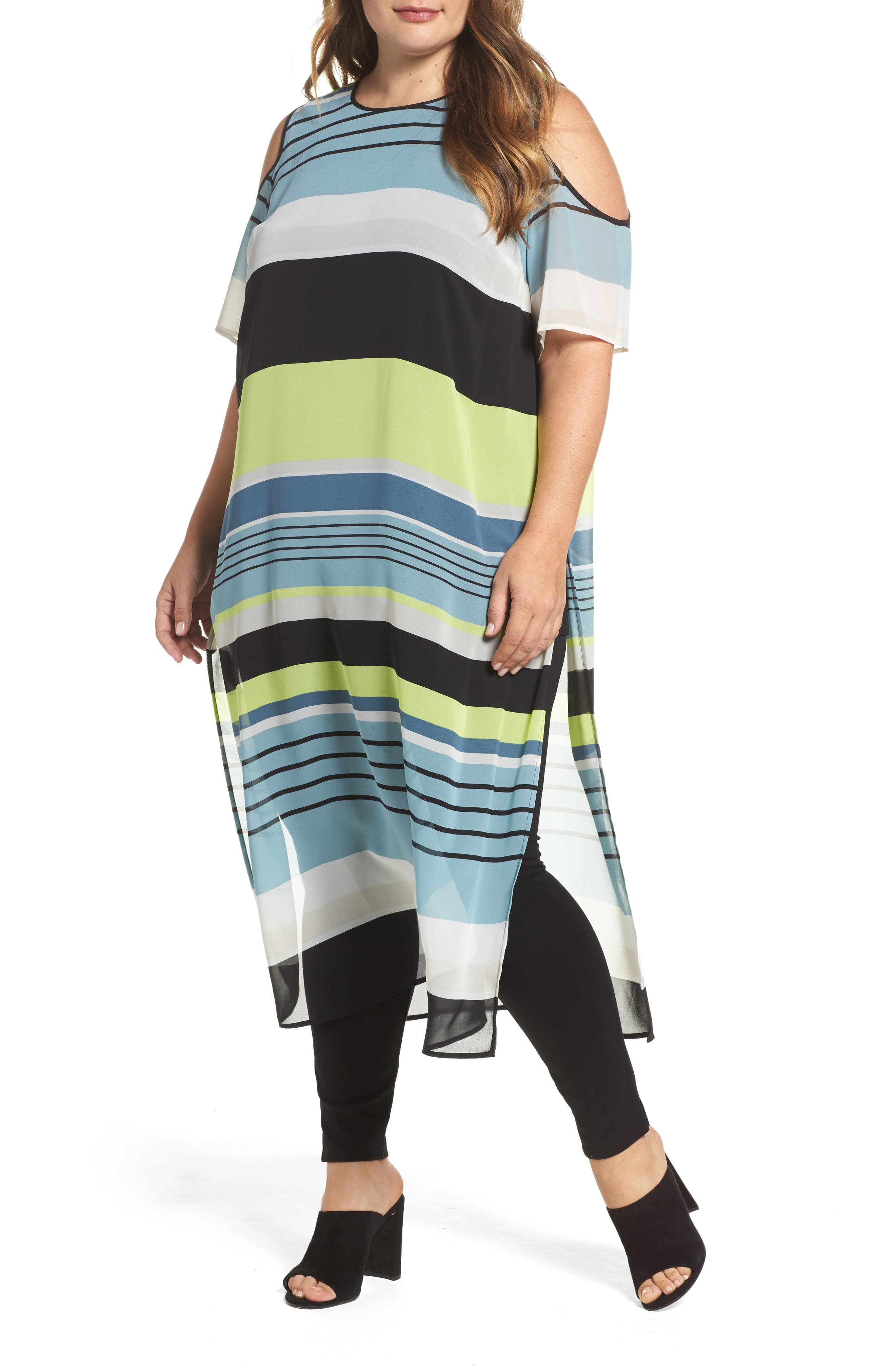 Vince Camuto Stripe Harmony Cold Shoulder Tunic (Plus Size)