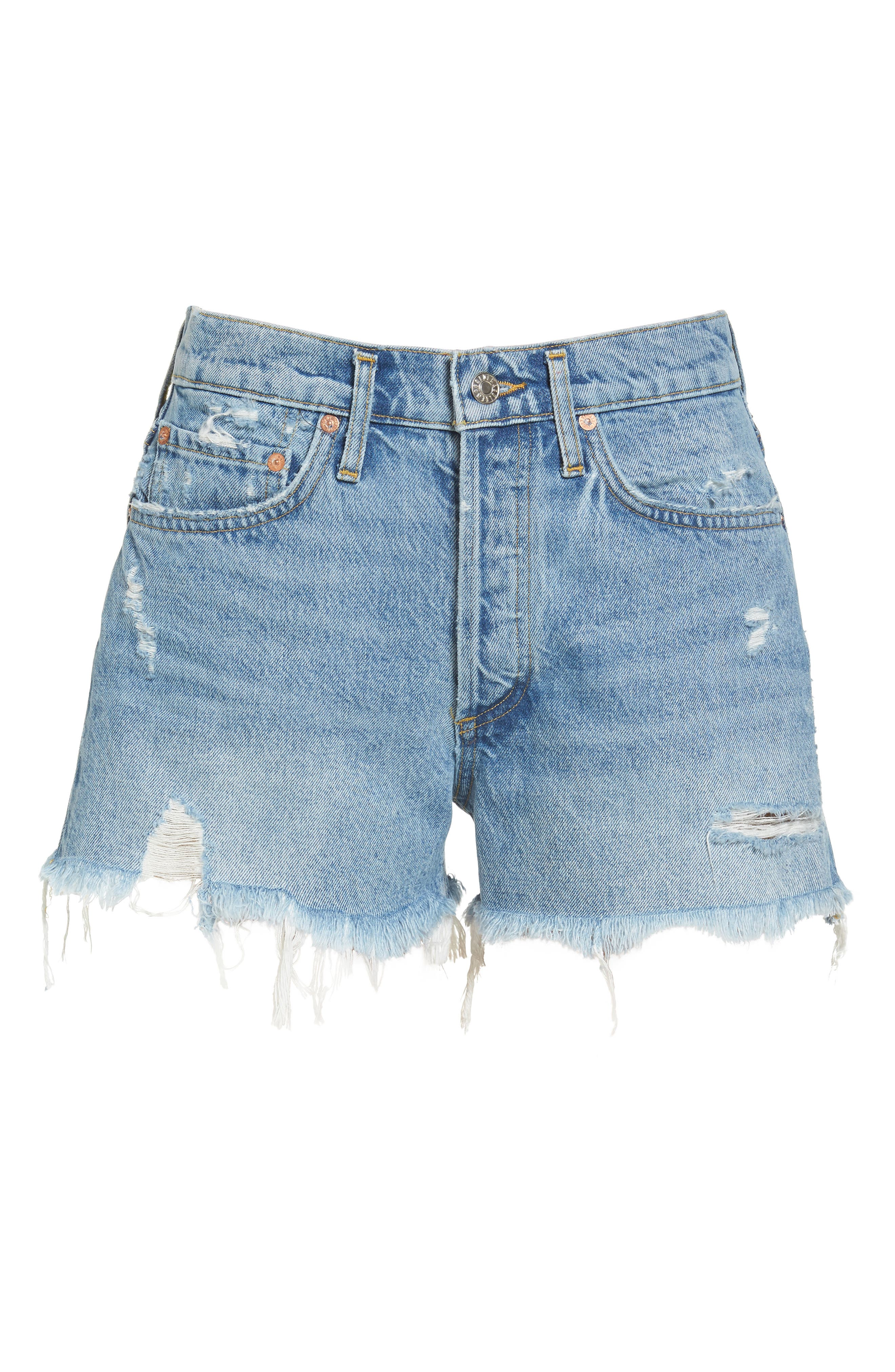 Parker Distressed Denim Shorts,                             Alternate thumbnail 6, color,                             Swapmeet