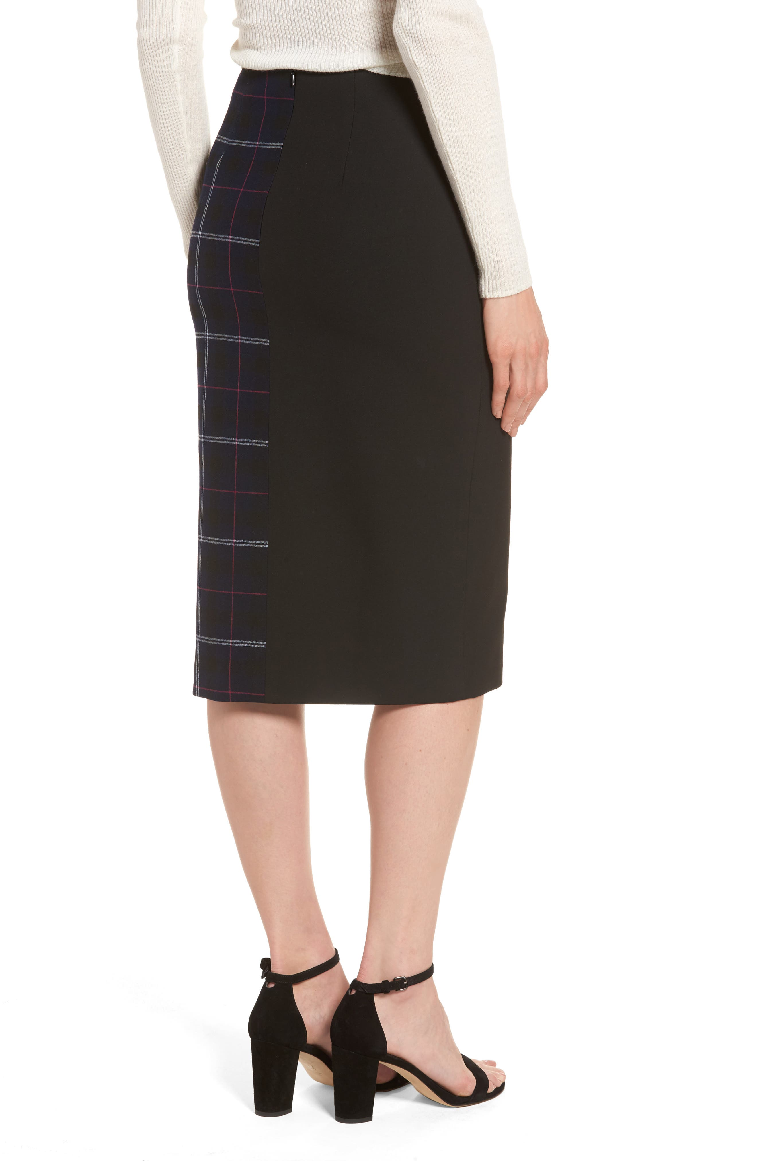 Alternate Image 2  - Halogen® Mixed Plaid Pencil Skirt