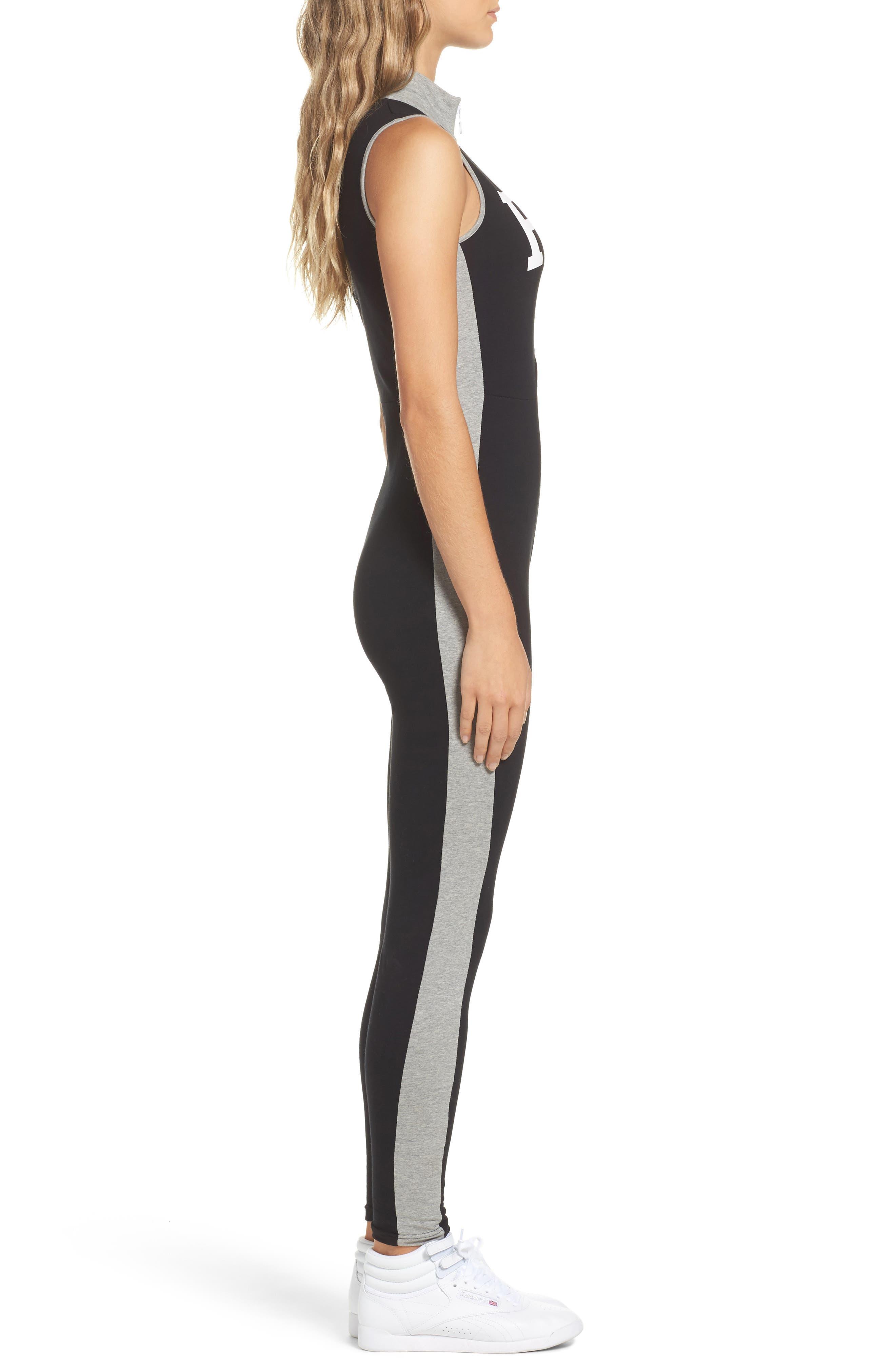 Roseann Jumpsuit,                             Alternate thumbnail 3, color,                             Black/ Grey Heather/ White