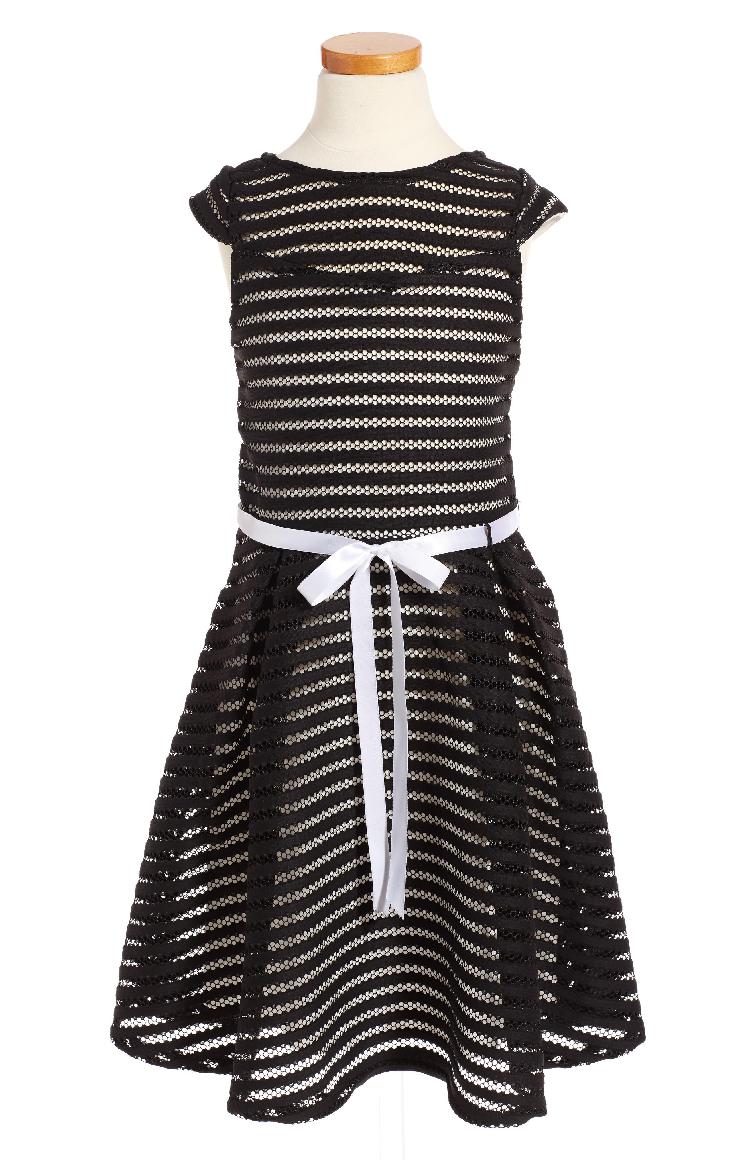 Alternate Image 1 Selected - Ava & Yelly Stripe Skater Dress (Big Girls)