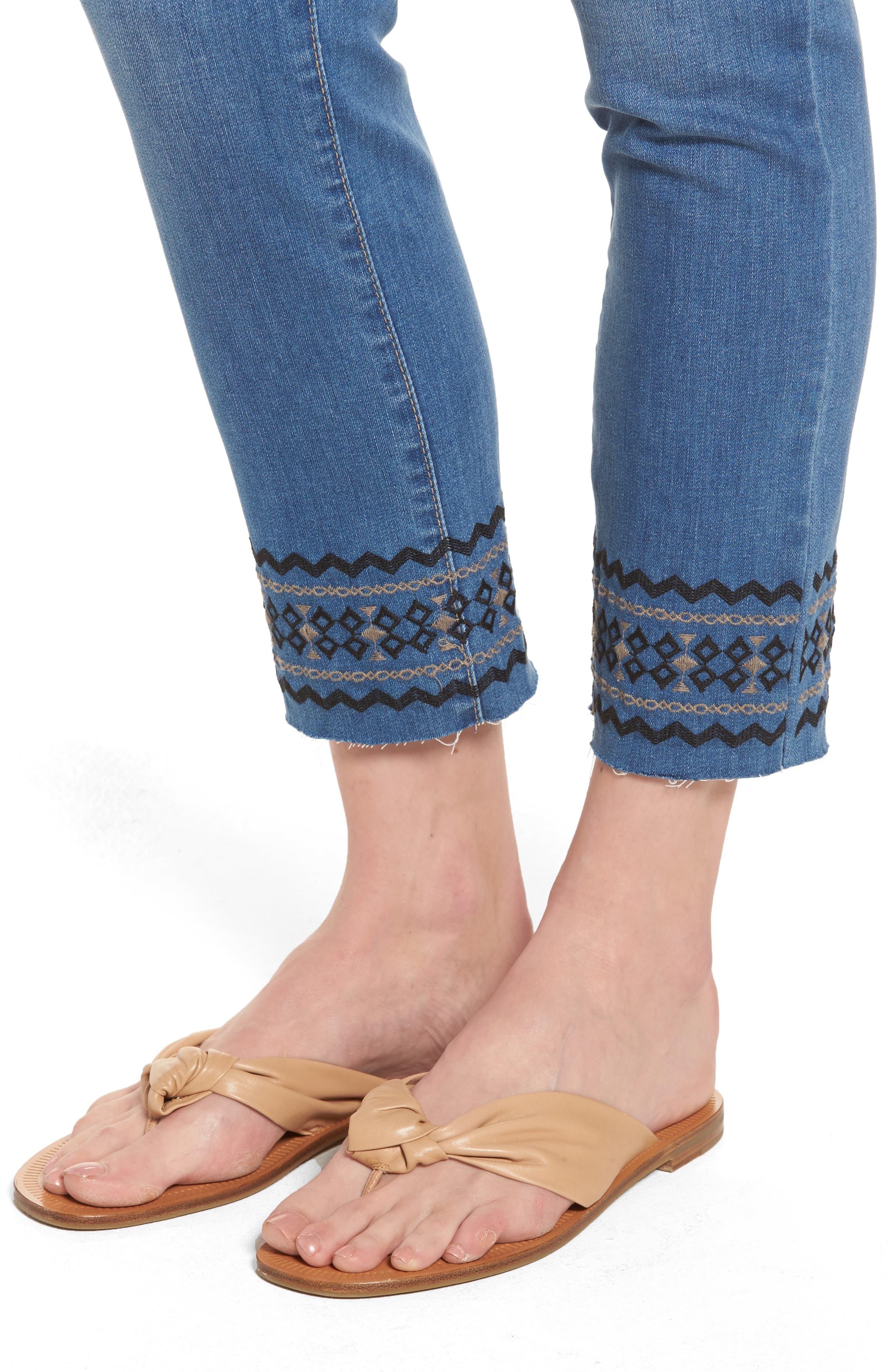 Alternate Image 4  - NYDJ Sheri Embroidered Stretch Slim Crop Jeans (Evansdale)