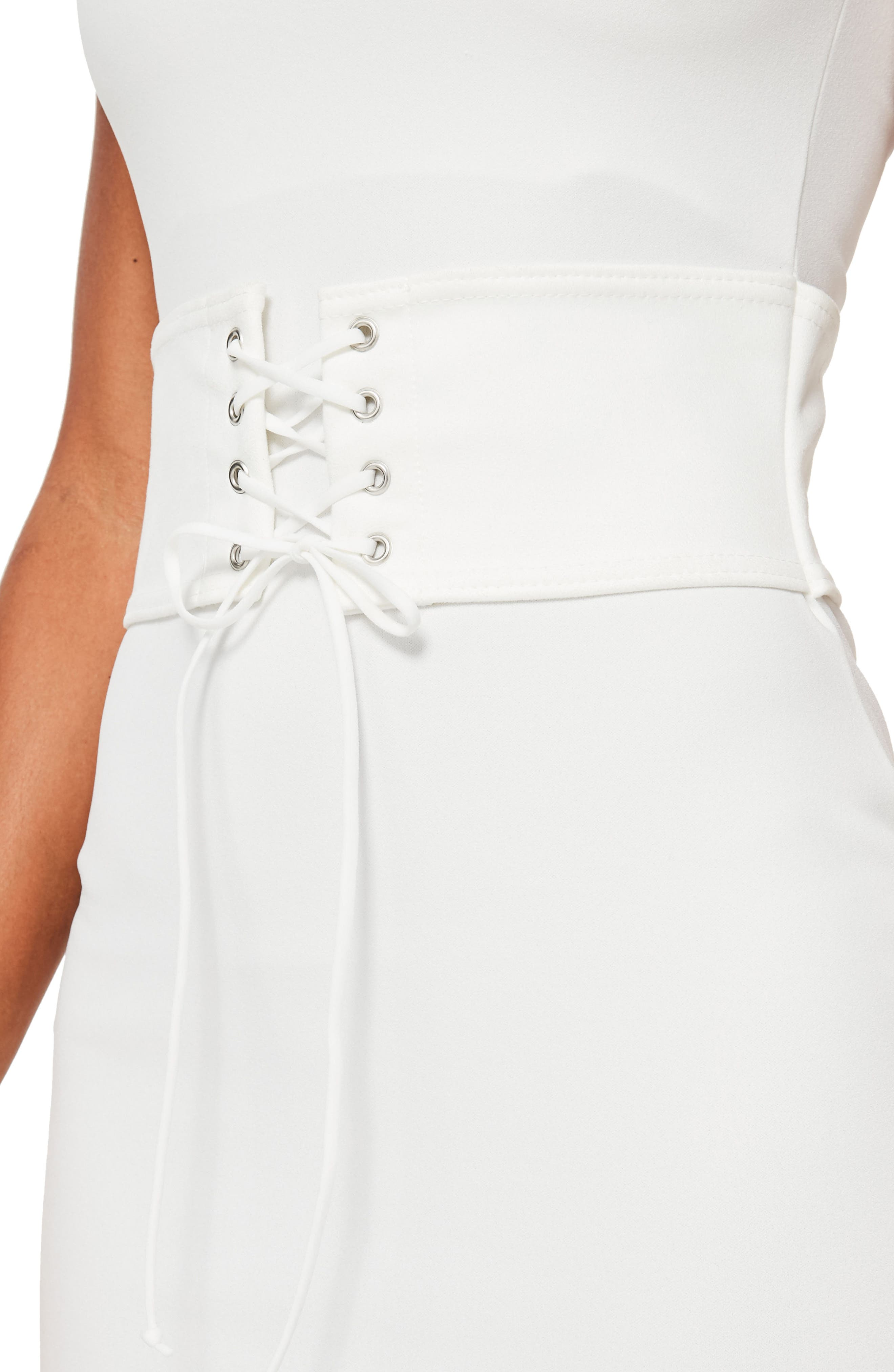 Corset Belt Body-Con Dress,                             Alternate thumbnail 4, color,                             Cream