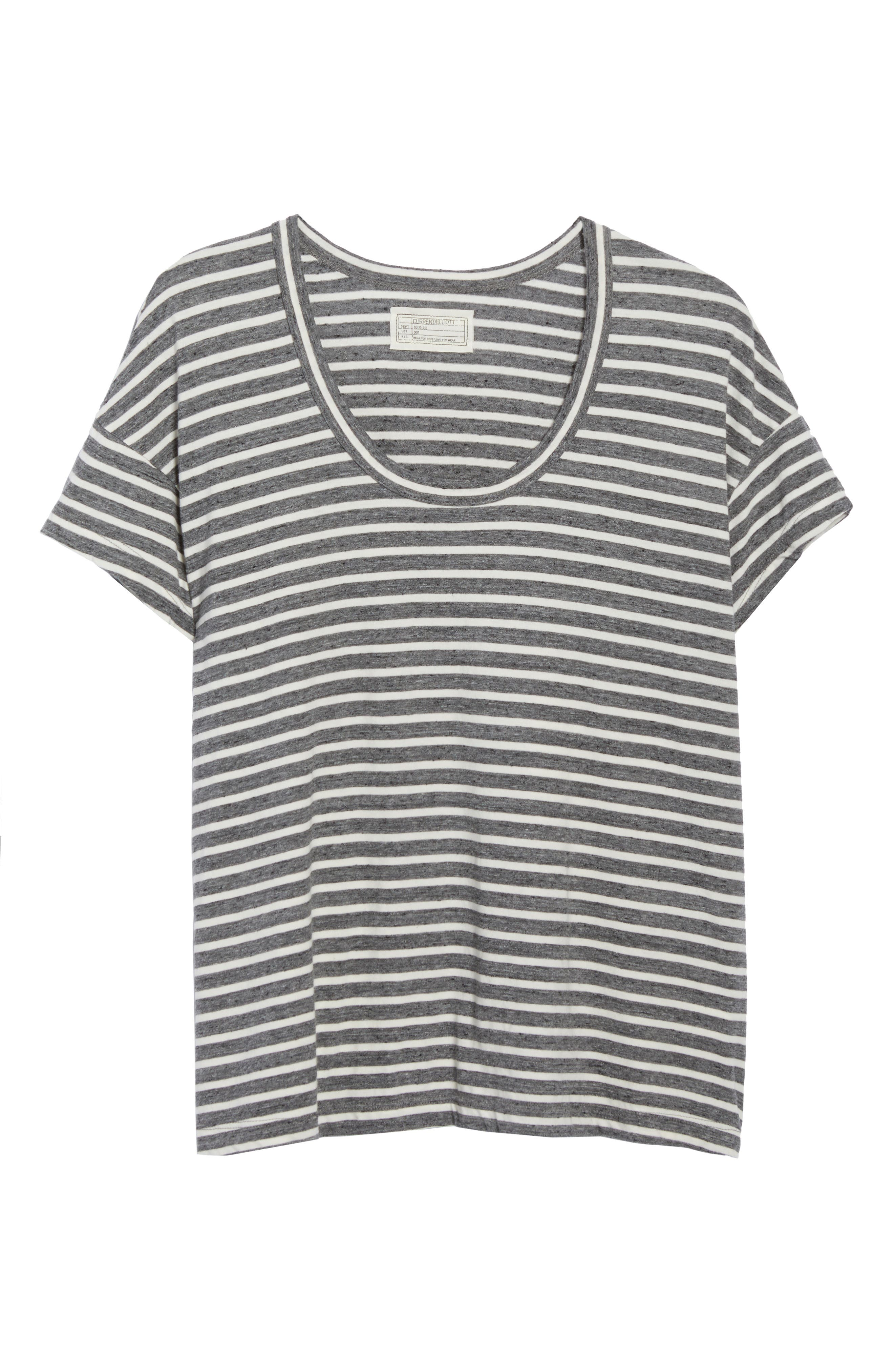 Stripe Slouchy Tee,                             Alternate thumbnail 6, color,                             Charcoal Anchor Stripe