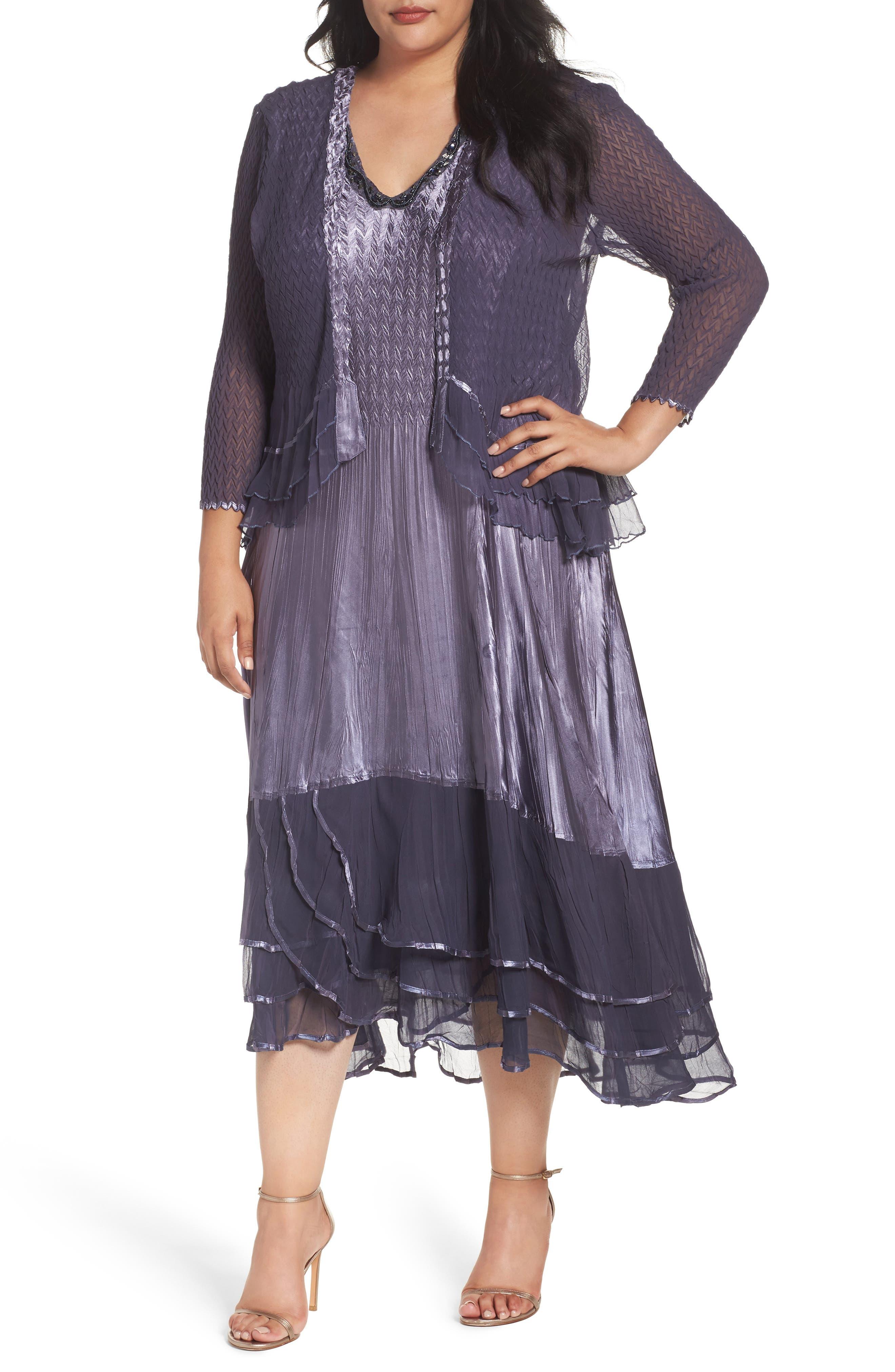 KOMAROV Embellished Tiered Dress with Jacket