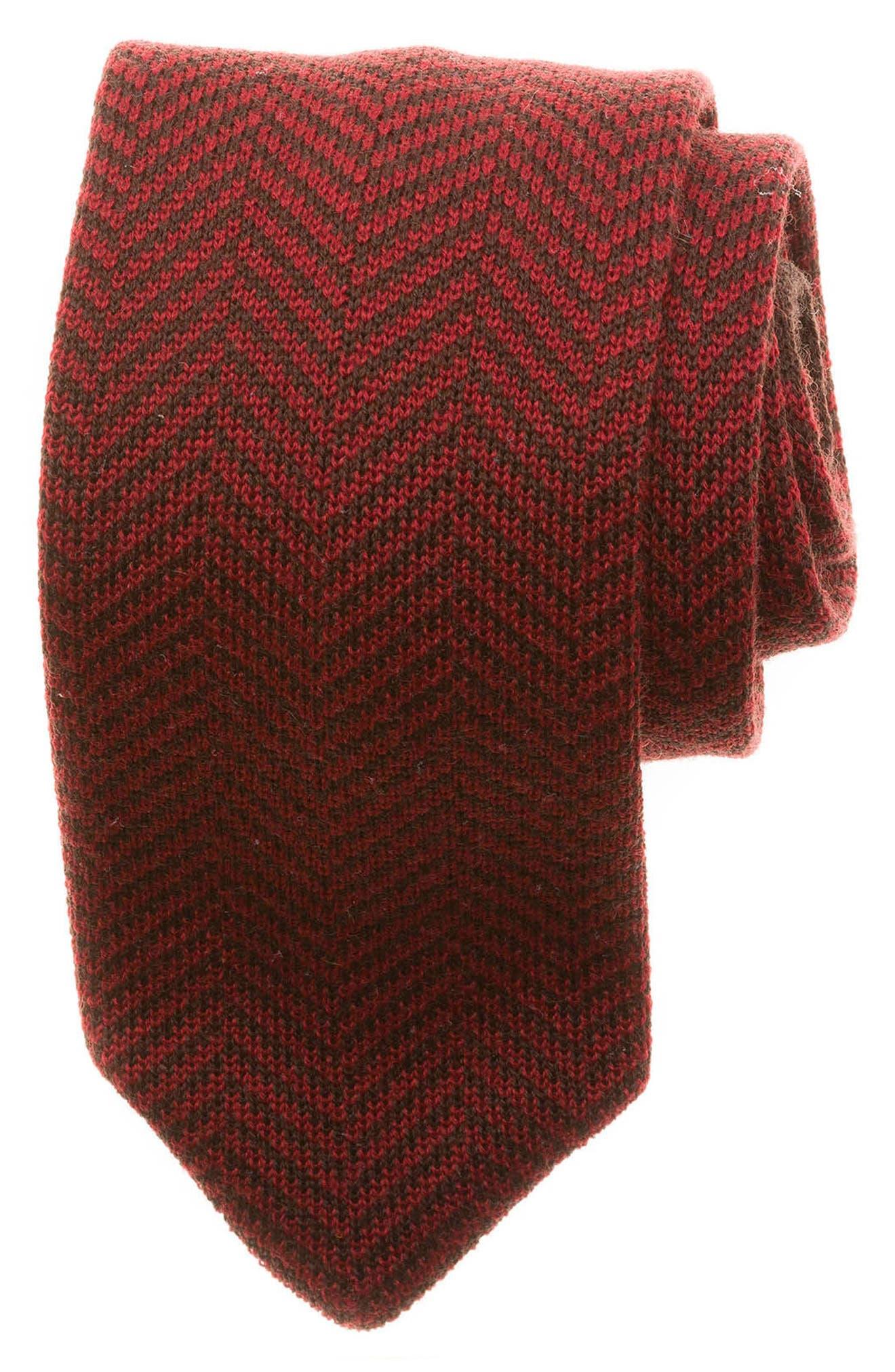Herringbone Knit Wool Tie,                         Main,                         color, Red