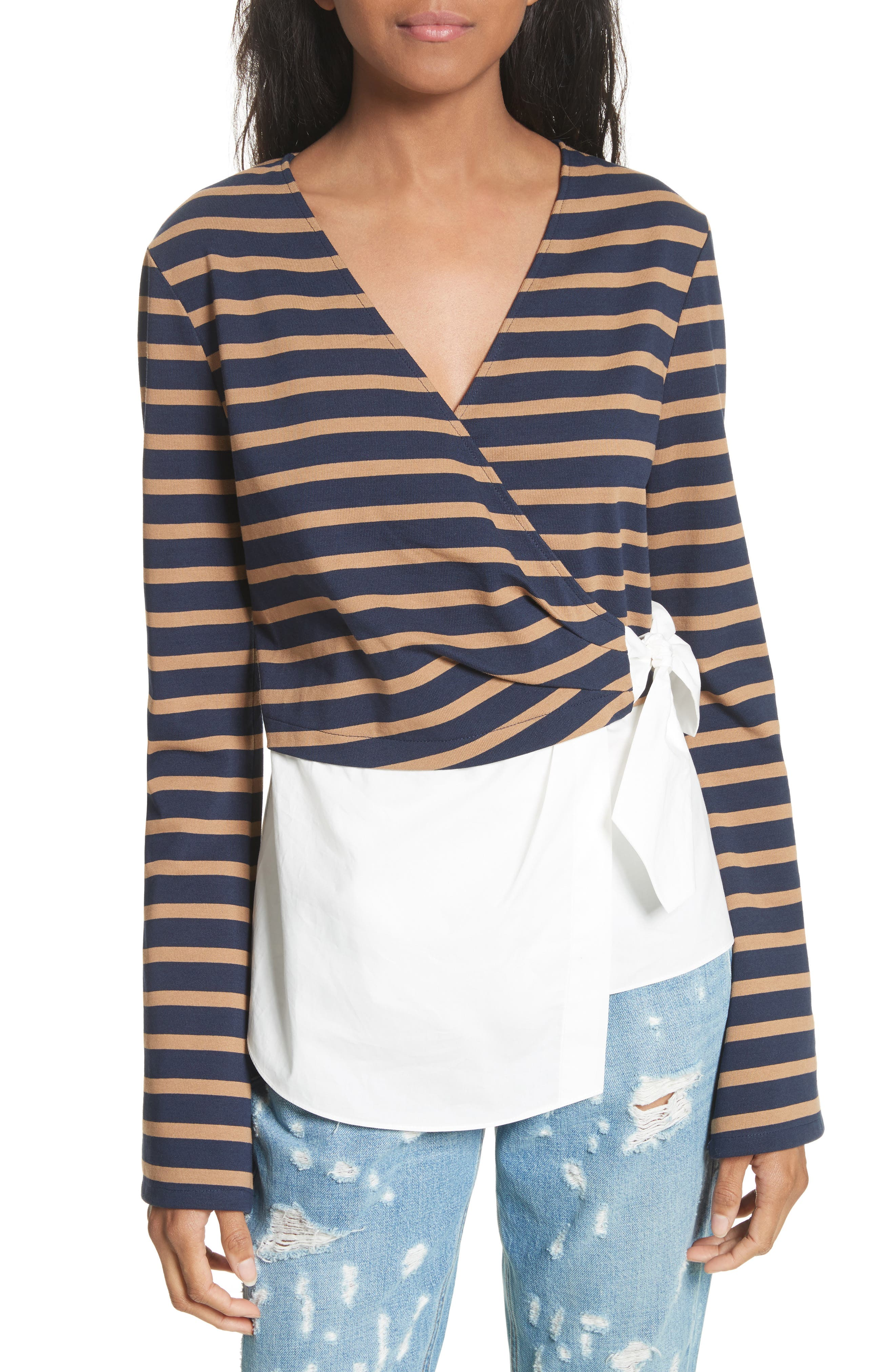 Stripe Wrap Top with Poplin Shirting Combo,                         Main,                         color, Midnight/ Army