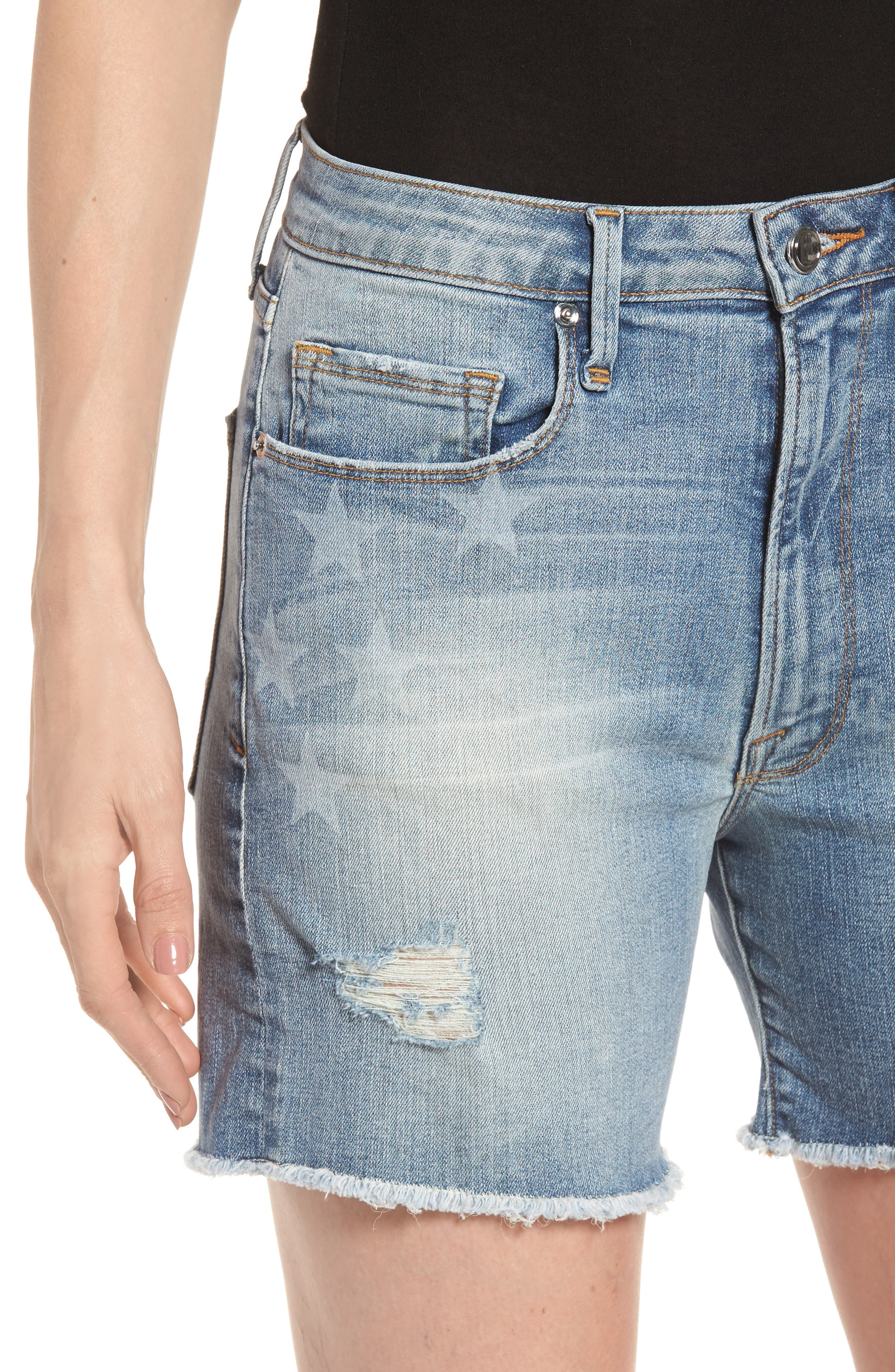Alternate Image 4  - Good American High Waist Denim Cutoff Shorts (Extended Sizes)