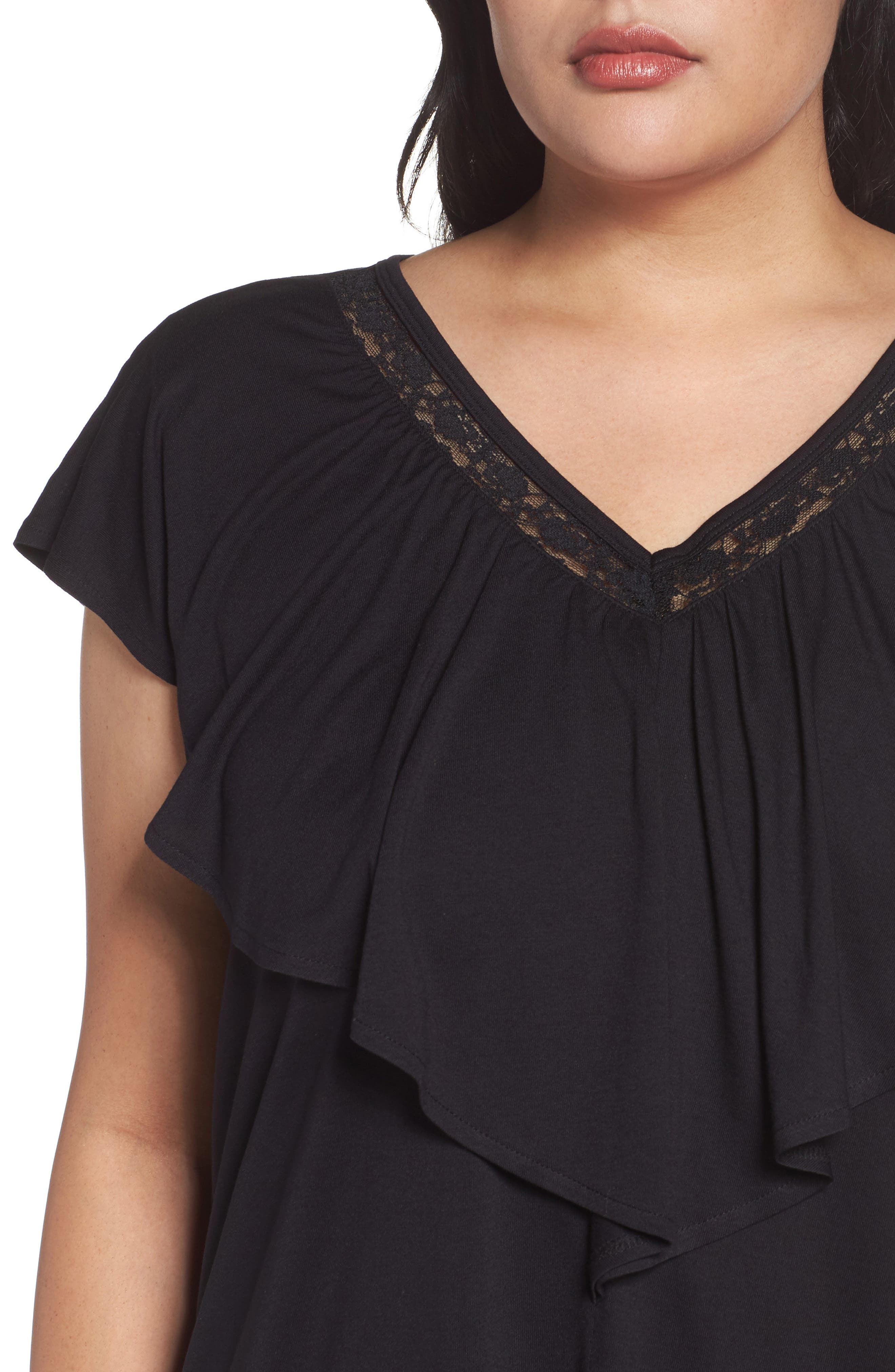 Alternate Image 4  - Sejour Lace Trim Ruffle Tee (Plus Size)