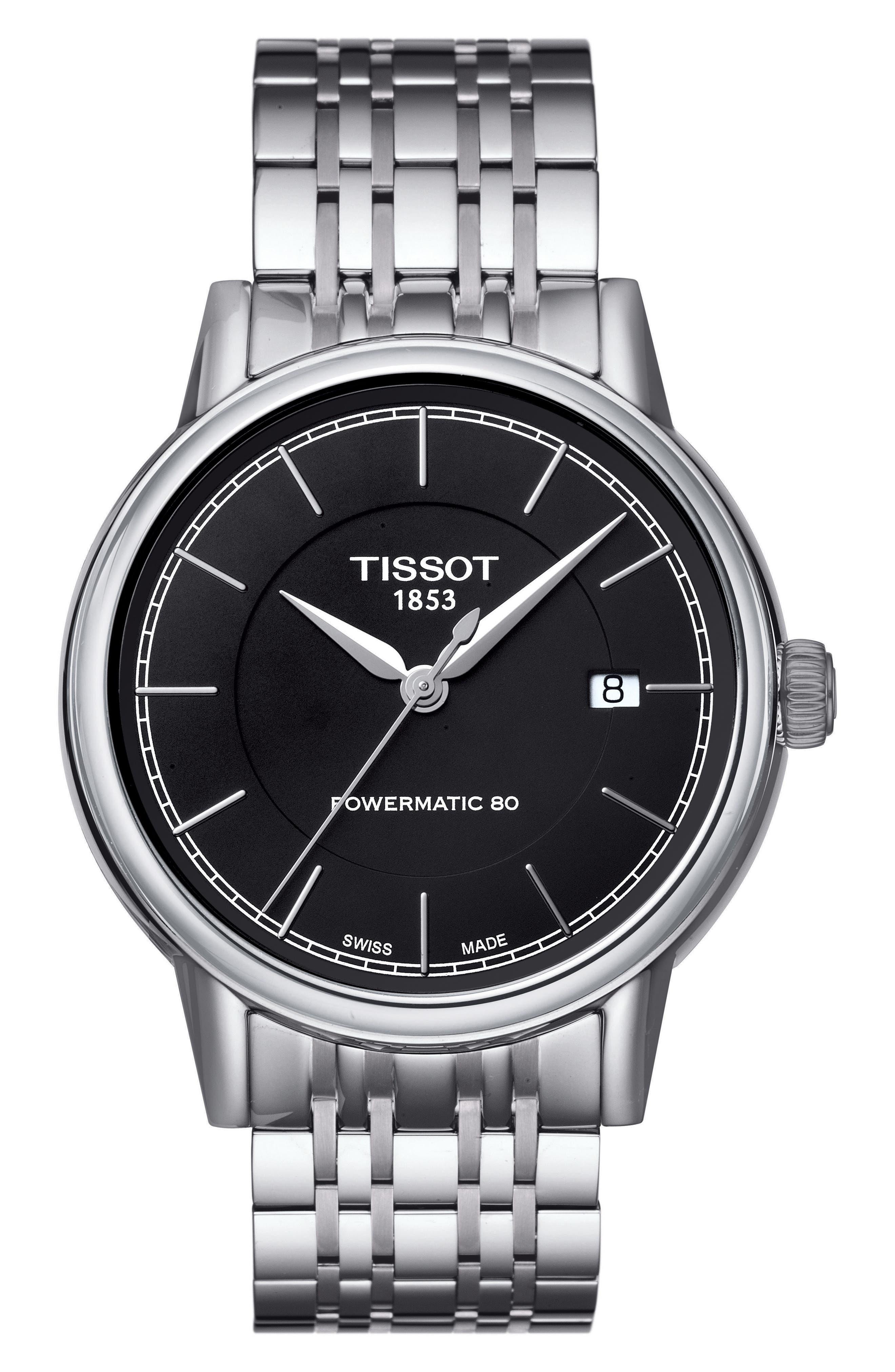 Carson Bracelet Watch, 39mm,                         Main,                         color, Silver/ Black/ Silver