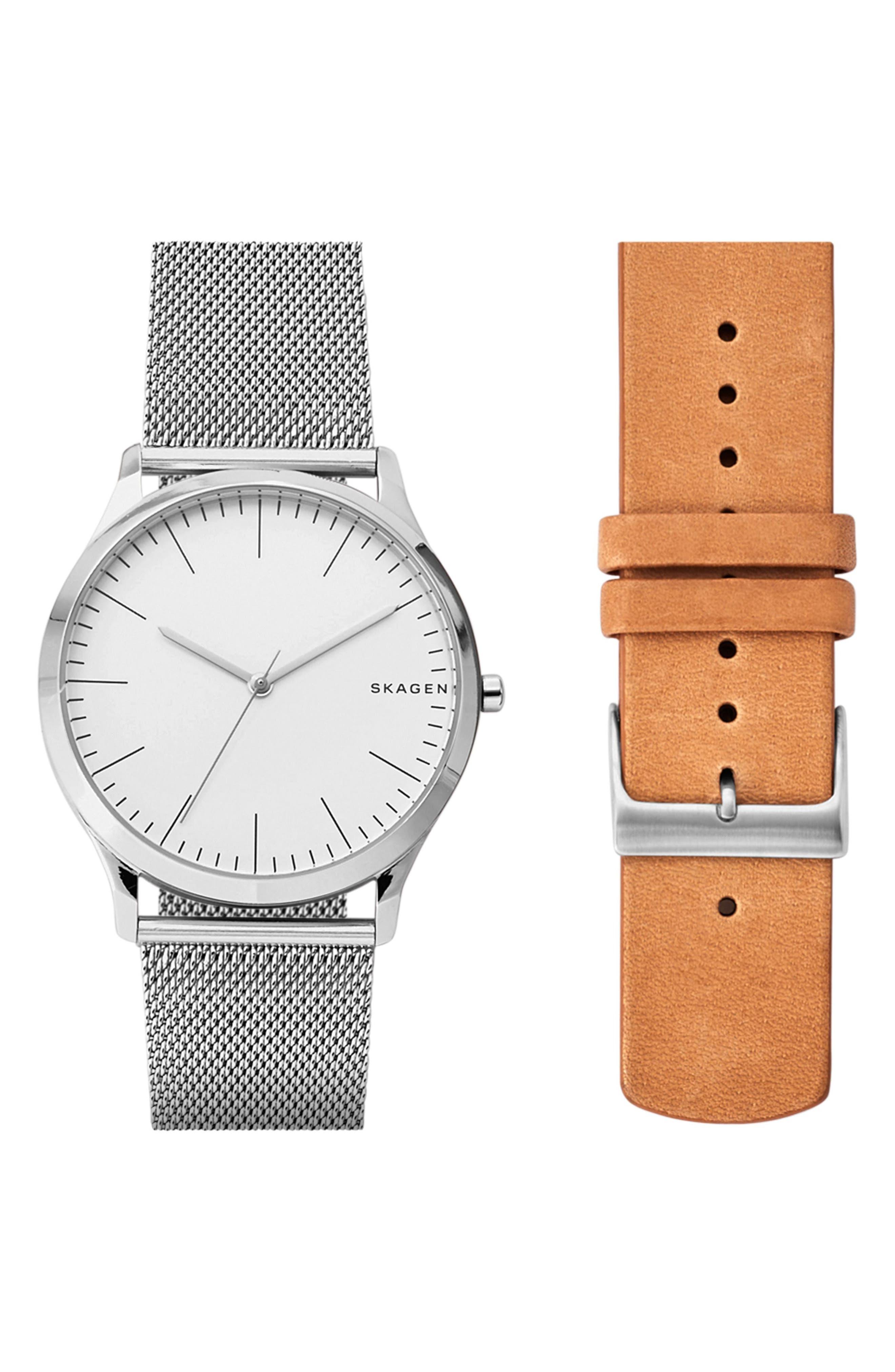 Skagen Jorn Mesh & Leather Strap Watch Set, 41mm