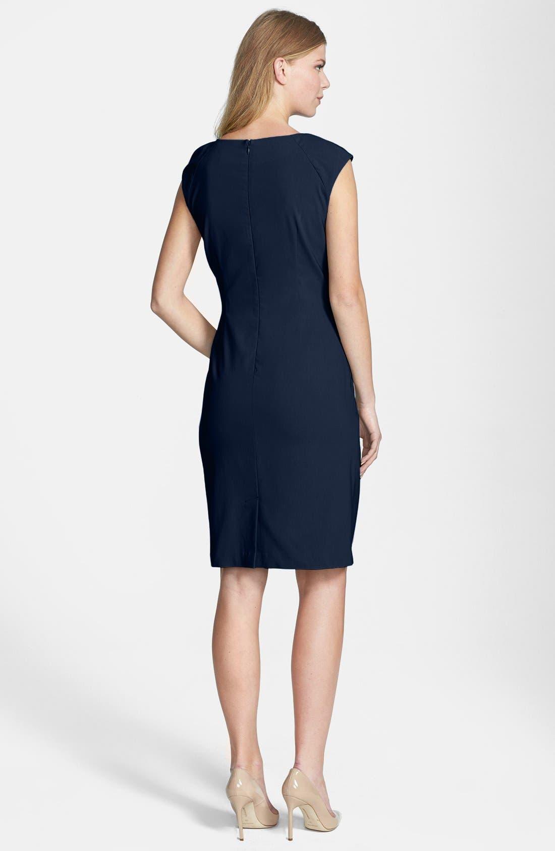 Alternate Image 2  - Adrianna Papell Side Pleat Sheath Dress (Regular & Petite)