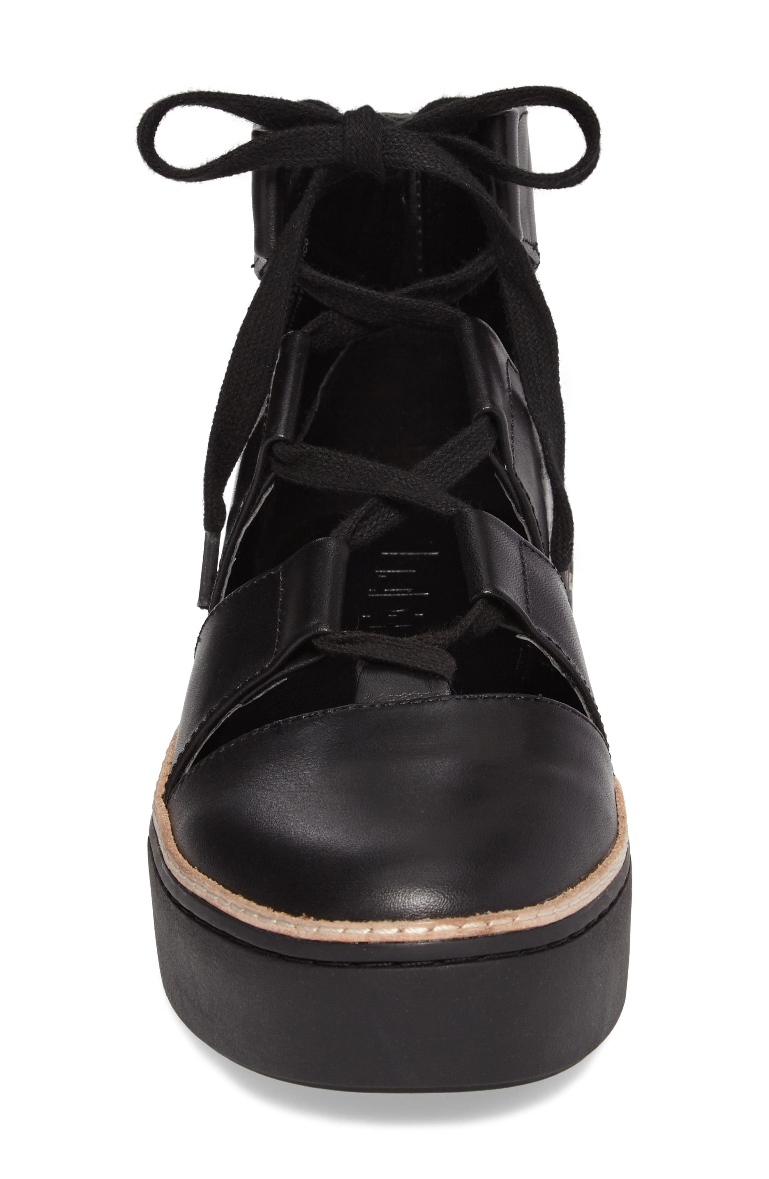 M4D3 Savanah Ghillie Platform Sneaker,                             Alternate thumbnail 4, color,                             Black Leather