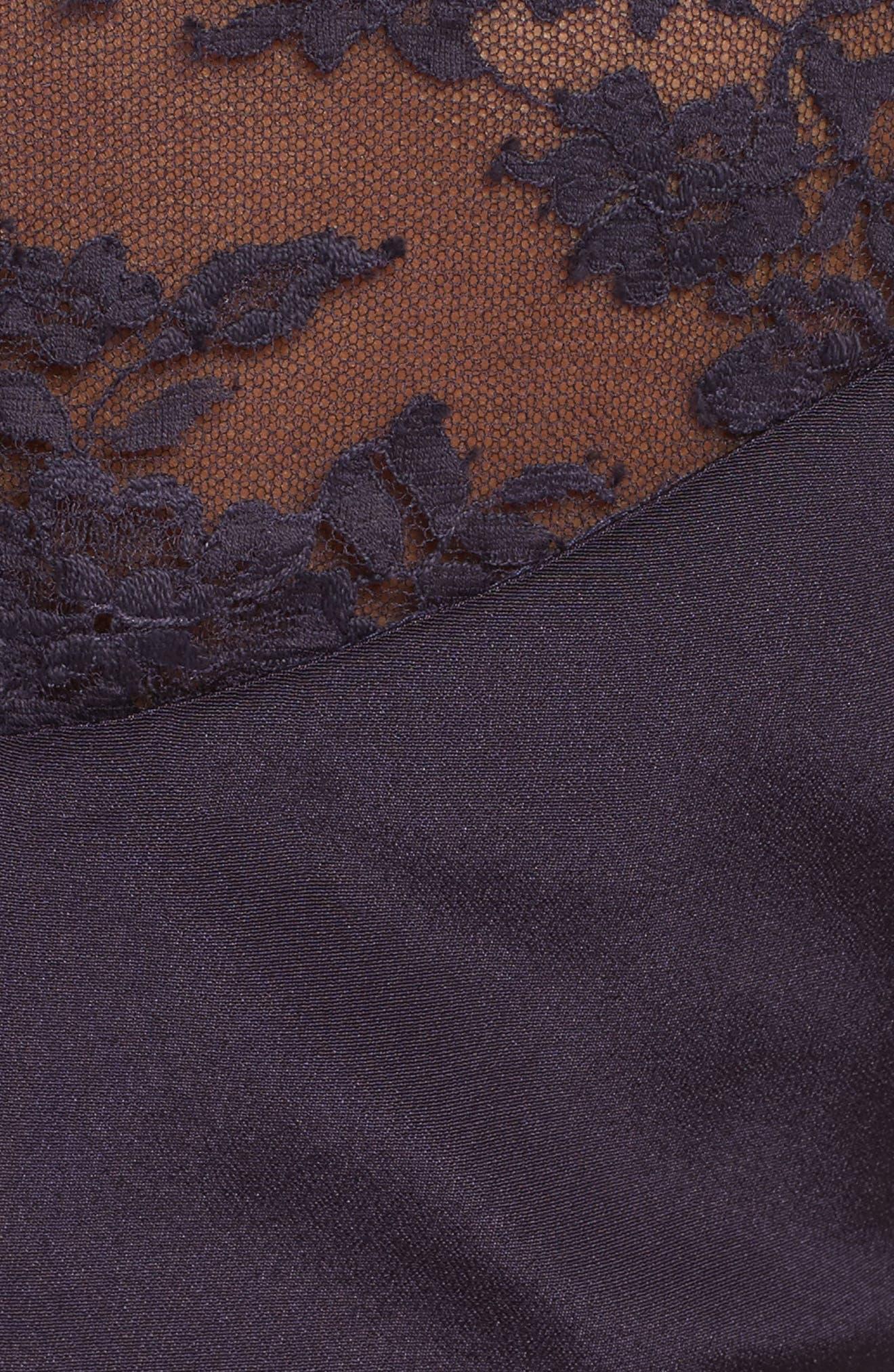 Lace & Velvet Trim Crepe Gown,                             Alternate thumbnail 6, color,                             Aubergine