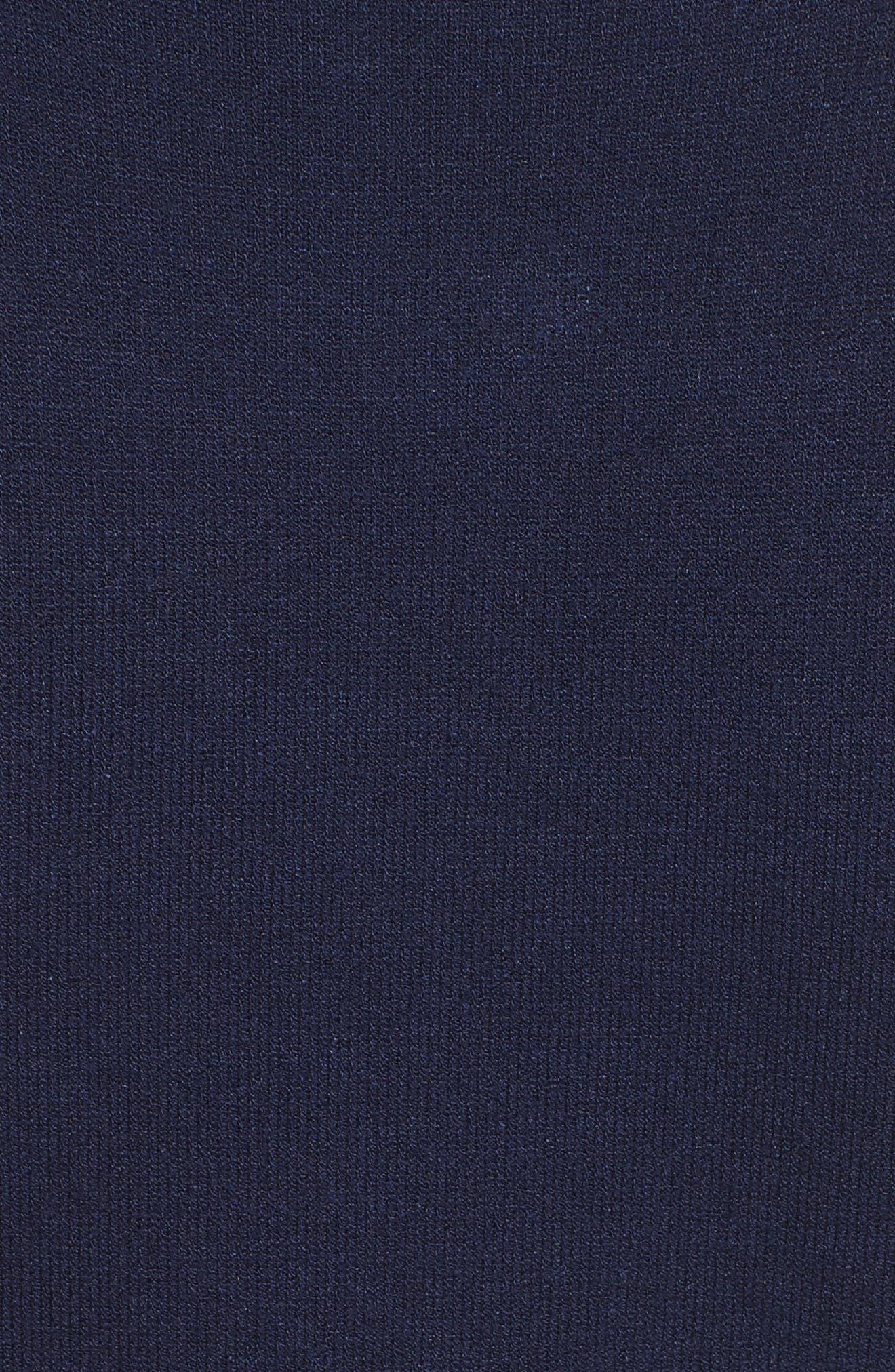Twist Neck Stretch Knit Sheath Dress,                             Alternate thumbnail 5, color,                             Navy