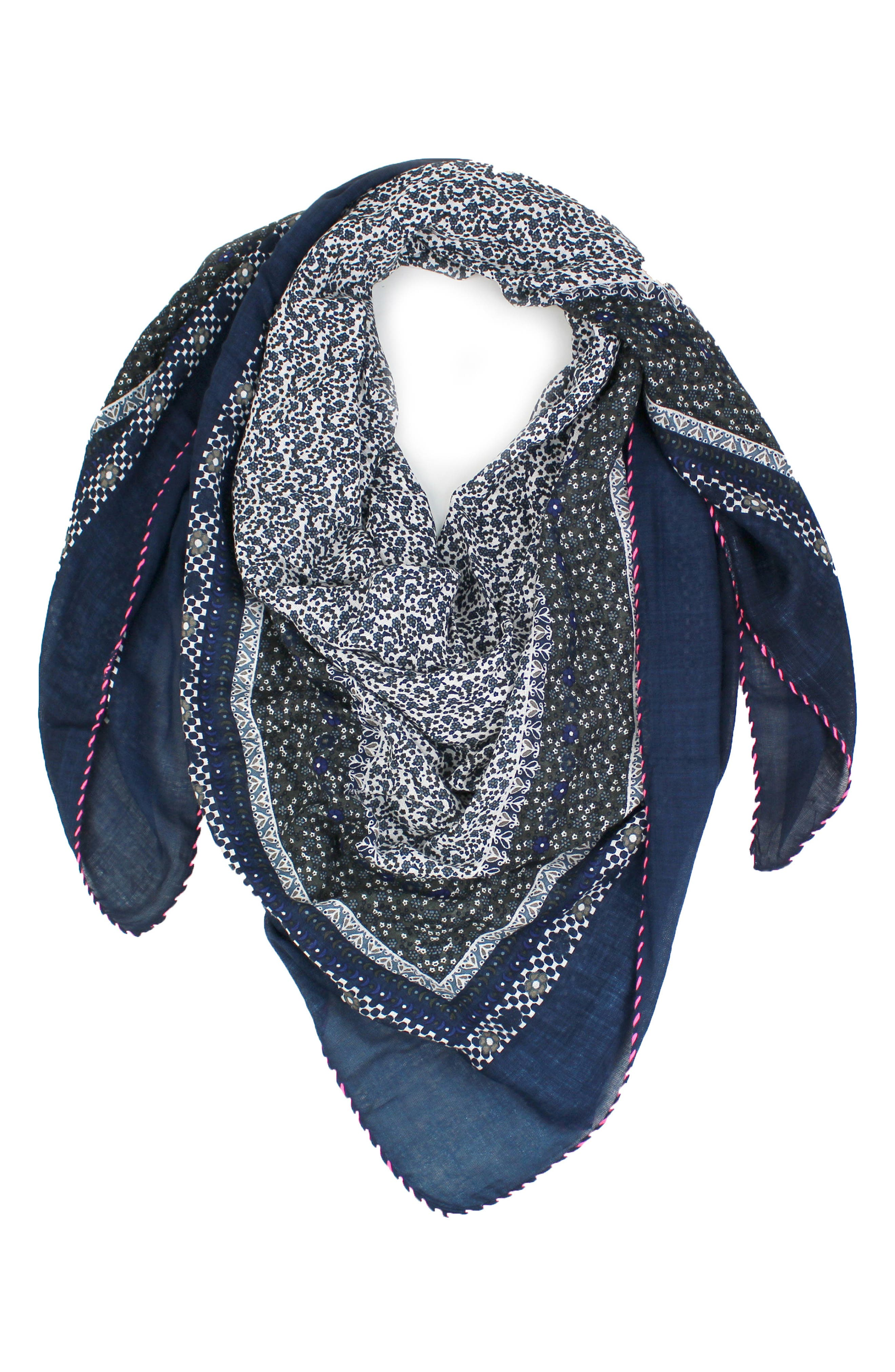 Little Ditsy Square Scarf,                             Alternate thumbnail 2, color,                             Blue/ White
