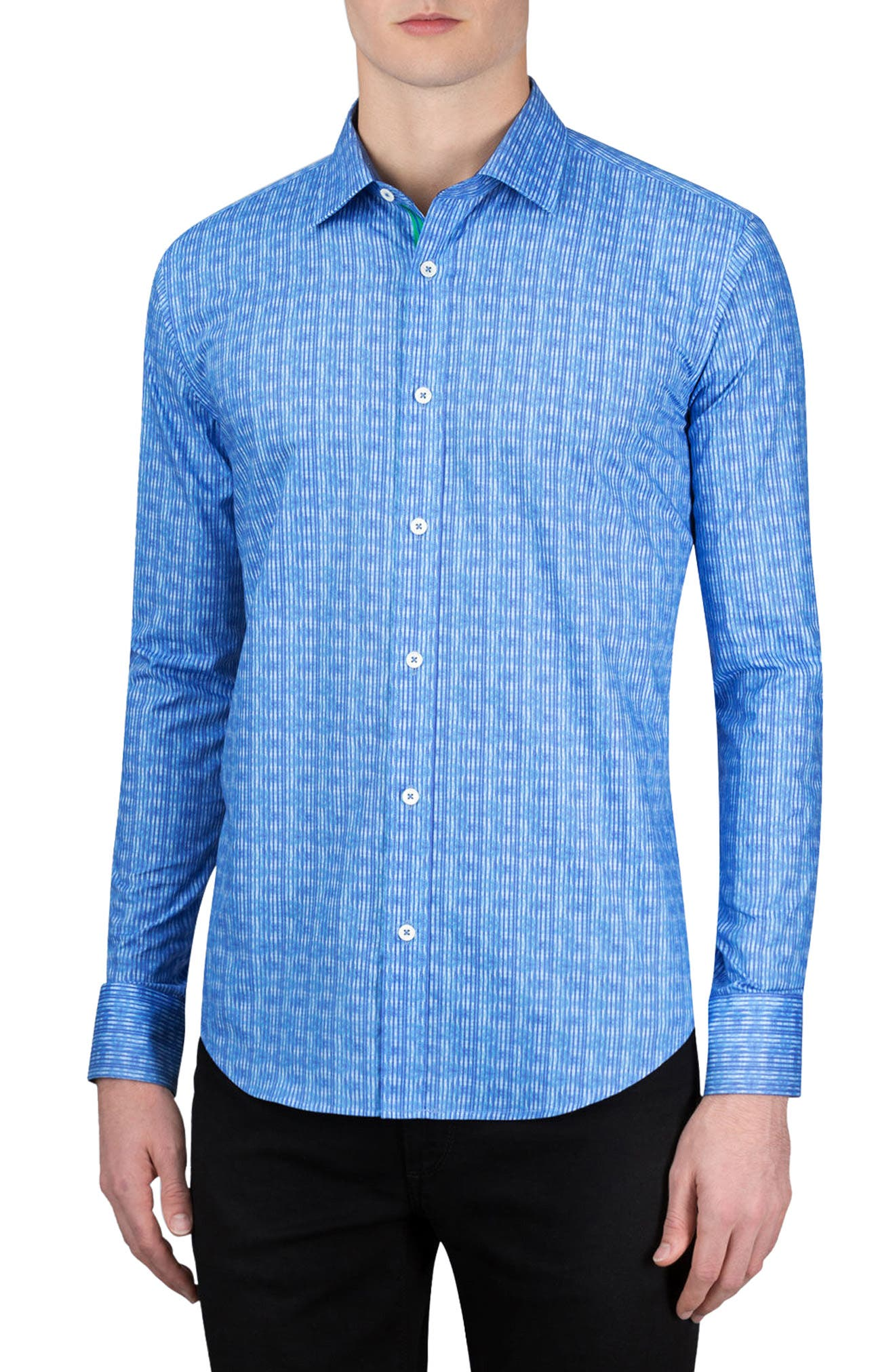 Shaped Fit Stripe Sport Shirt,                             Main thumbnail 1, color,                             Classic Blue