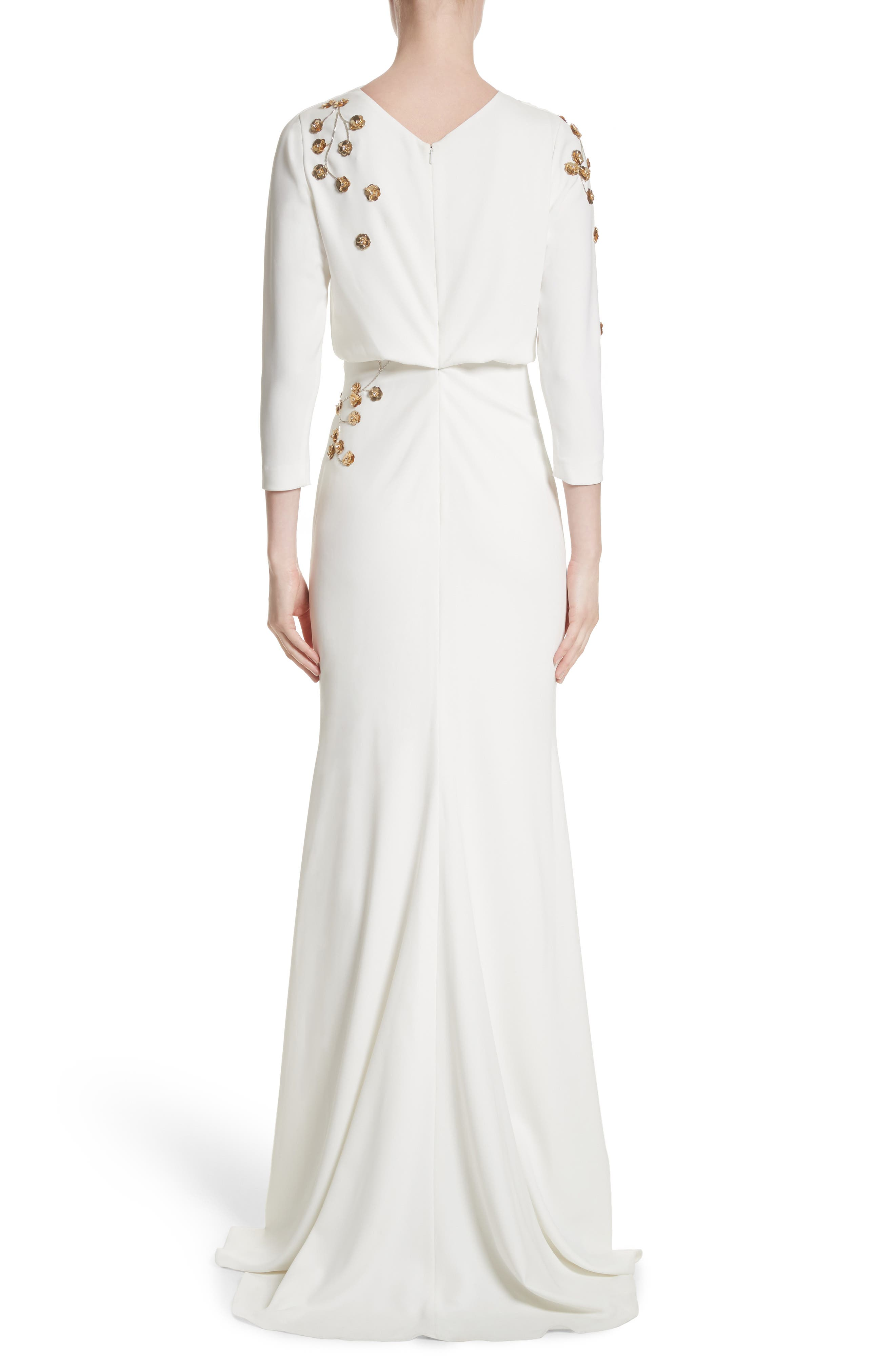 Badgley Mischka Couture Floral Embellished Crepe Gown,                             Alternate thumbnail 2, color,                             Light Ivory