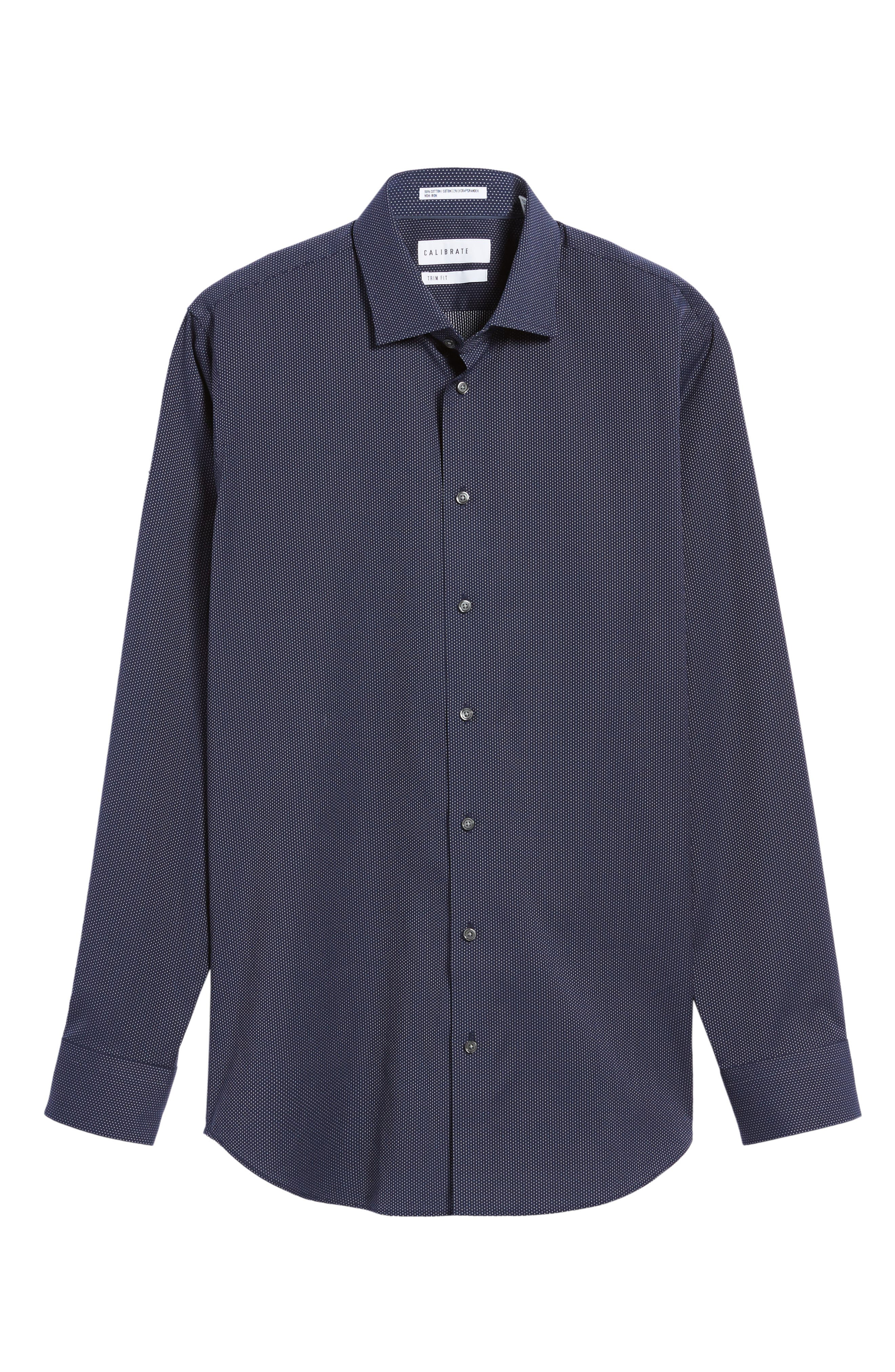 Trim Fit Non-Iron Microdot Dress Shirt,                             Alternate thumbnail 6, color,                             Navy Peacoat