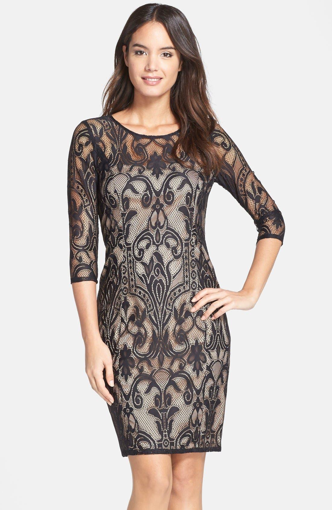 Alternate Image 1 Selected - Adrianna Papell Lace Sheath Dress (Regular & Petite)