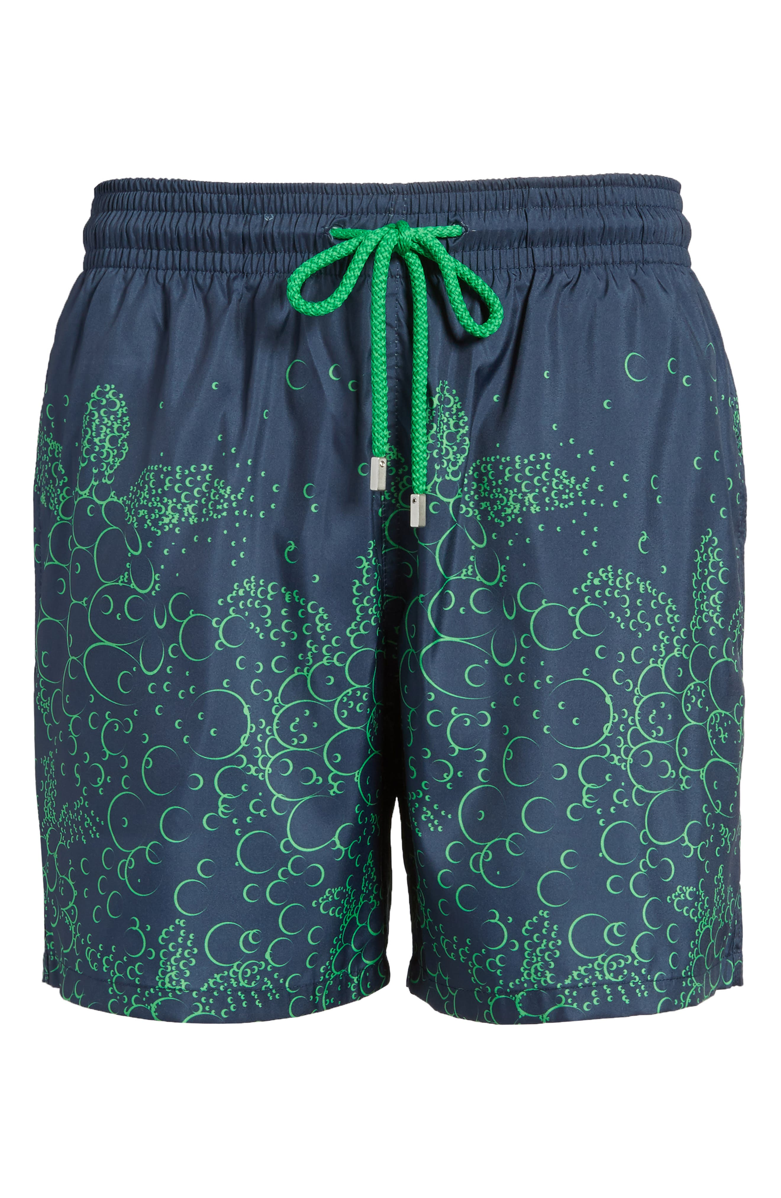 Mahina Bubble Turtles Print Swim Trunks,                             Alternate thumbnail 6, color,                             Navy Blue